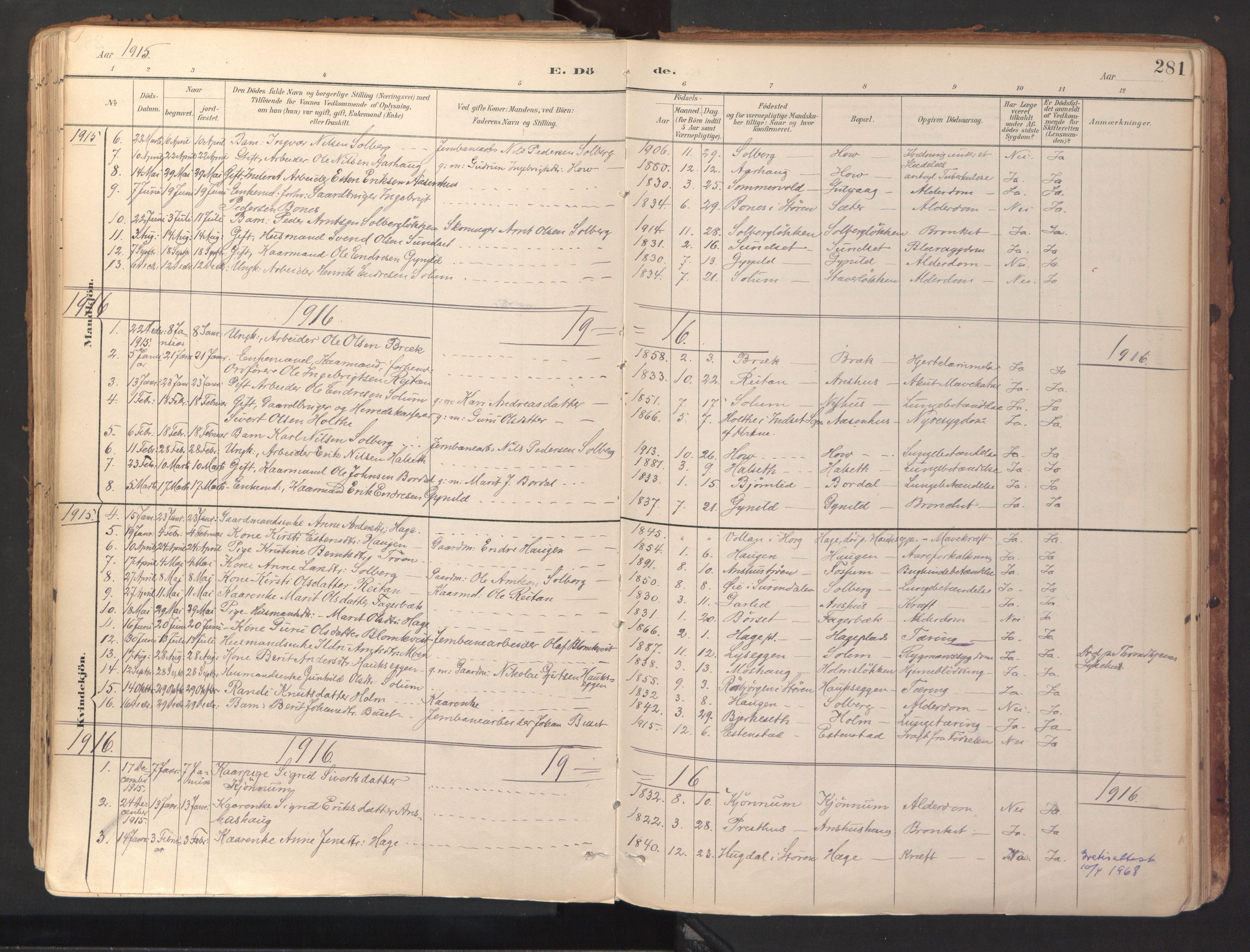 SAT, Ministerialprotokoller, klokkerbøker og fødselsregistre - Sør-Trøndelag, 689/L1041: Ministerialbok nr. 689A06, 1891-1923, s. 281