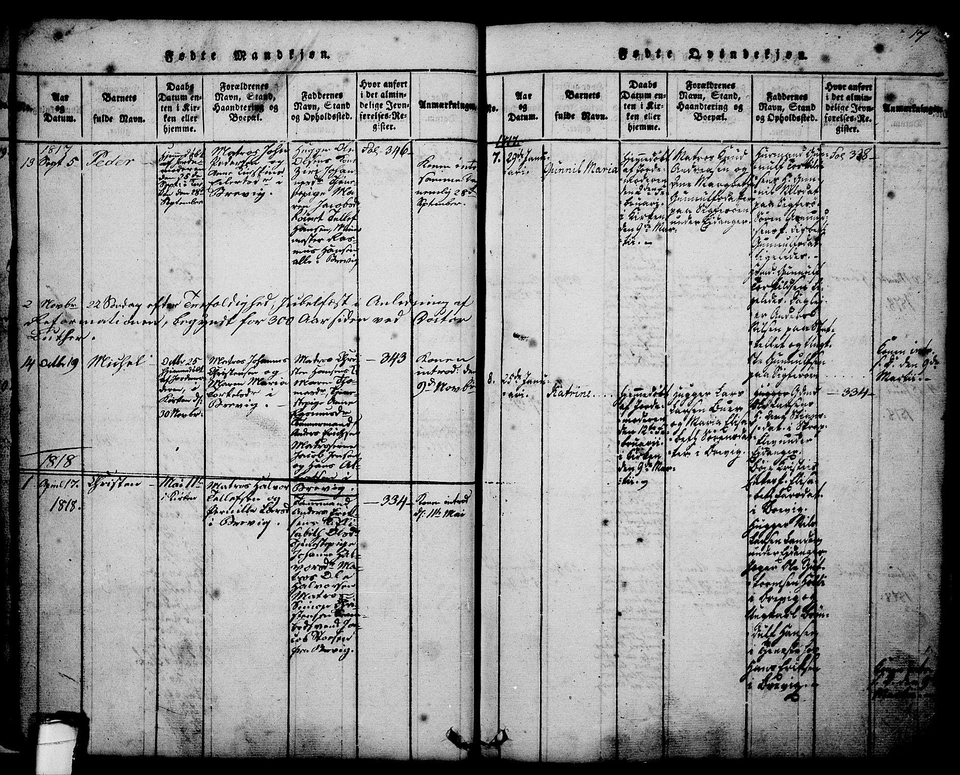 SAKO, Brevik kirkebøker, G/Ga/L0001: Klokkerbok nr. 1, 1814-1845, s. 17
