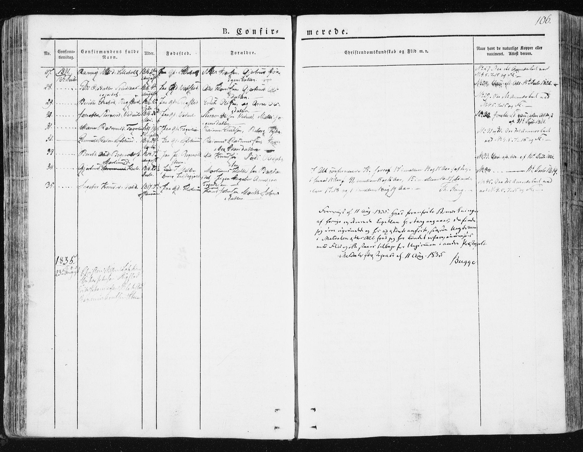 SAT, Ministerialprotokoller, klokkerbøker og fødselsregistre - Sør-Trøndelag, 672/L0855: Ministerialbok nr. 672A07, 1829-1860, s. 106