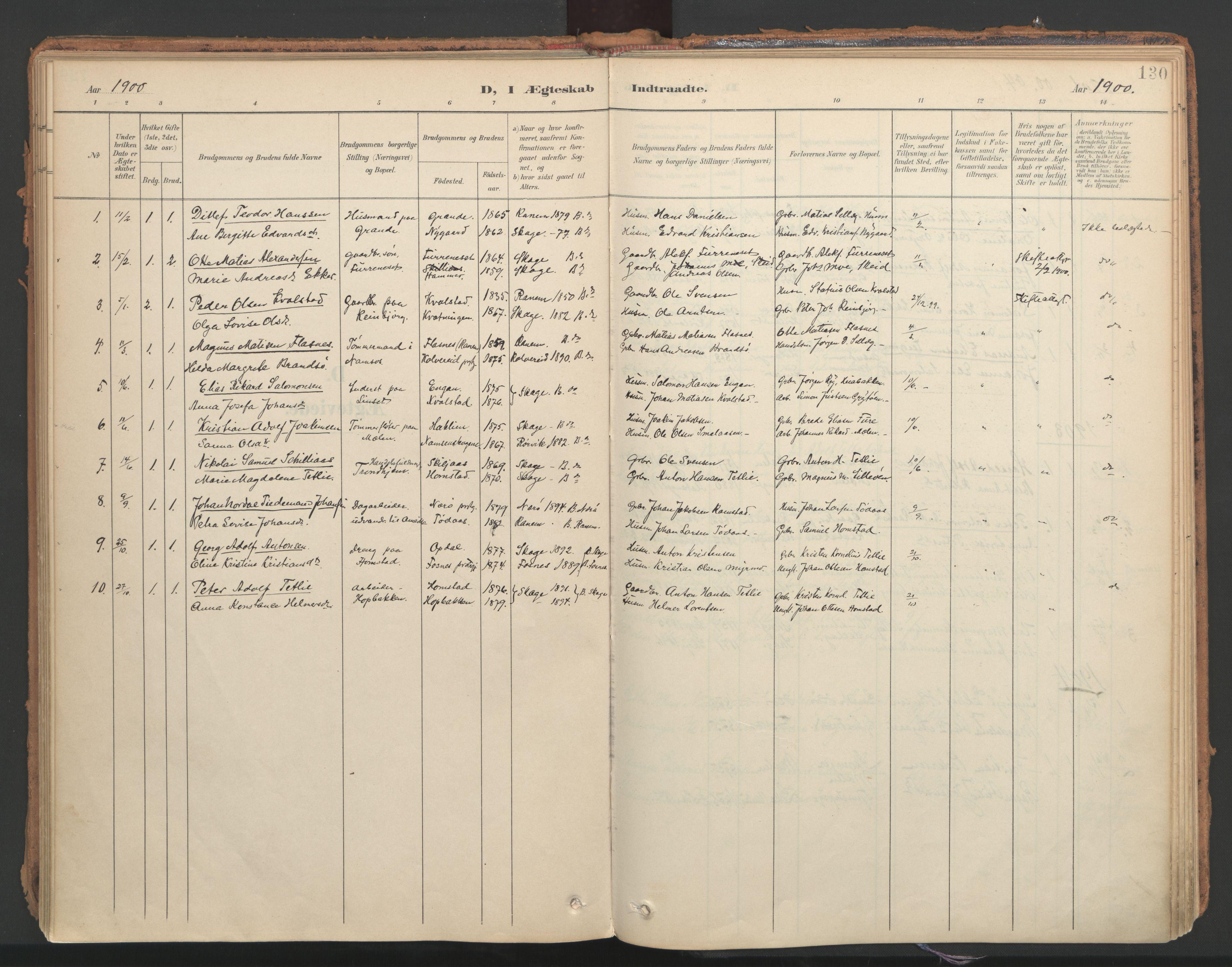 SAT, Ministerialprotokoller, klokkerbøker og fødselsregistre - Nord-Trøndelag, 766/L0564: Ministerialbok nr. 767A02, 1900-1932, s. 130