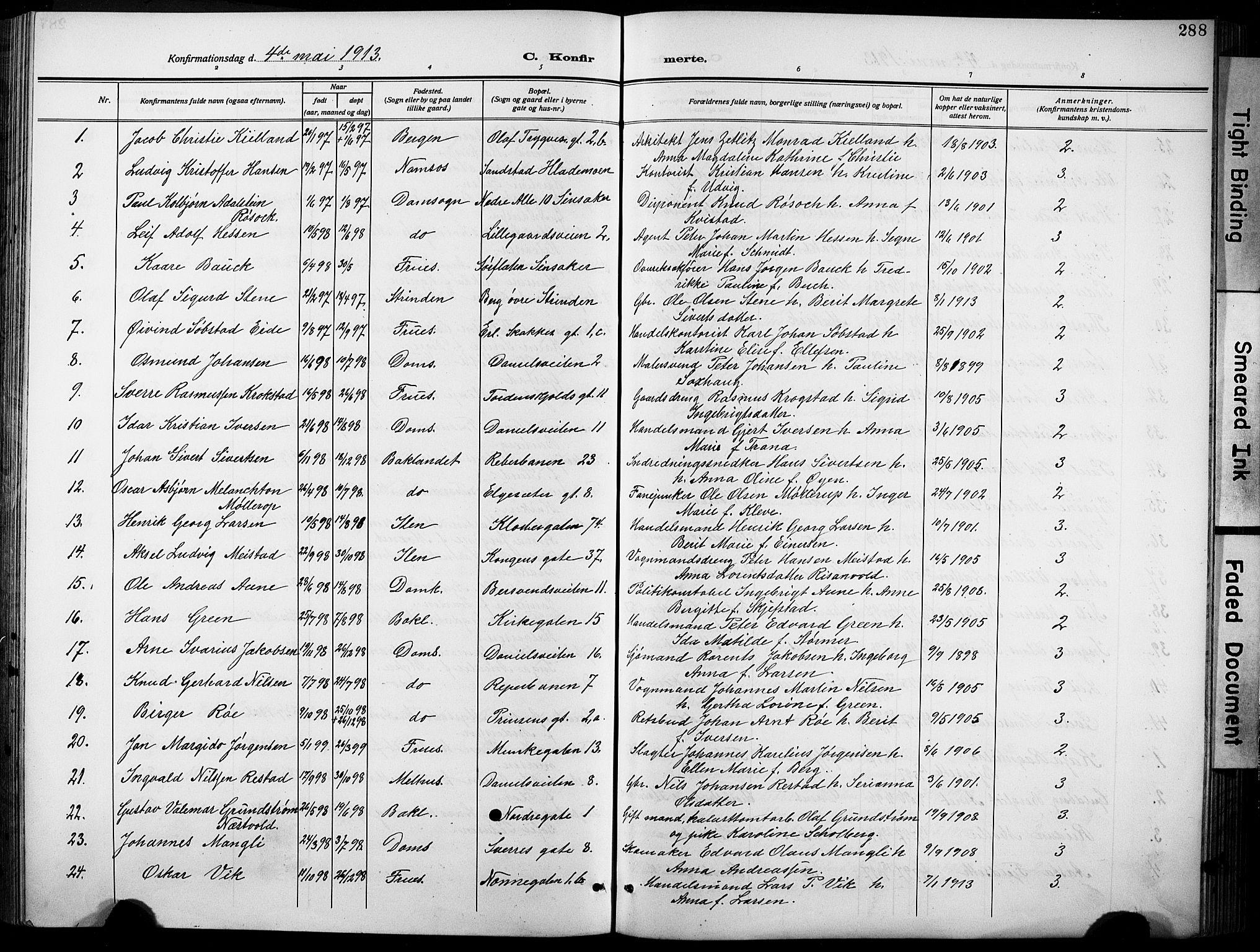 SAT, Ministerialprotokoller, klokkerbøker og fødselsregistre - Sør-Trøndelag, 601/L0096: Klokkerbok nr. 601C14, 1911-1931, s. 288