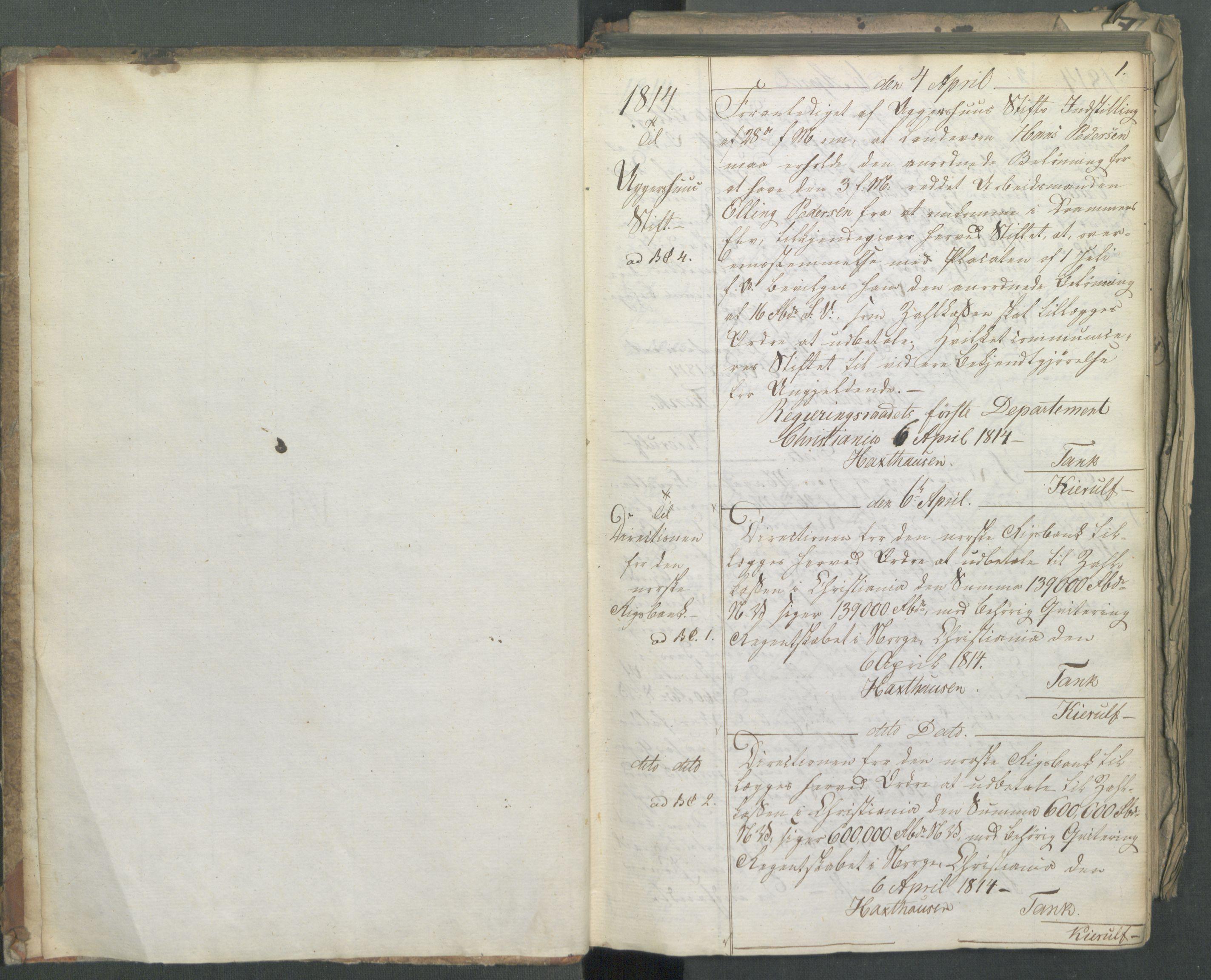 RA, Departementene i 1814, Fa/L0011: Bokholderkontoret - Kopibok, 1814, s. 1