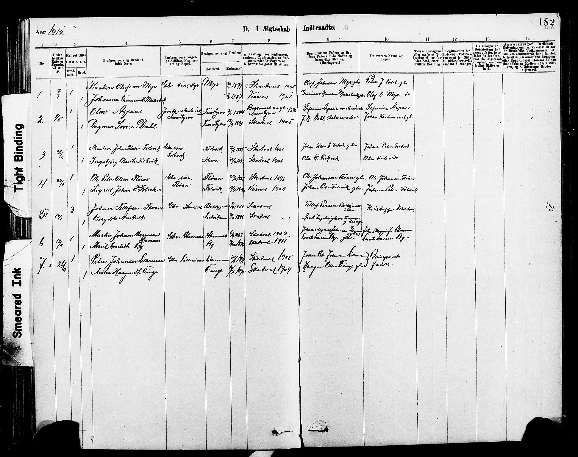 SAT, Ministerialprotokoller, klokkerbøker og fødselsregistre - Nord-Trøndelag, 712/L0103: Klokkerbok nr. 712C01, 1878-1917, s. 182