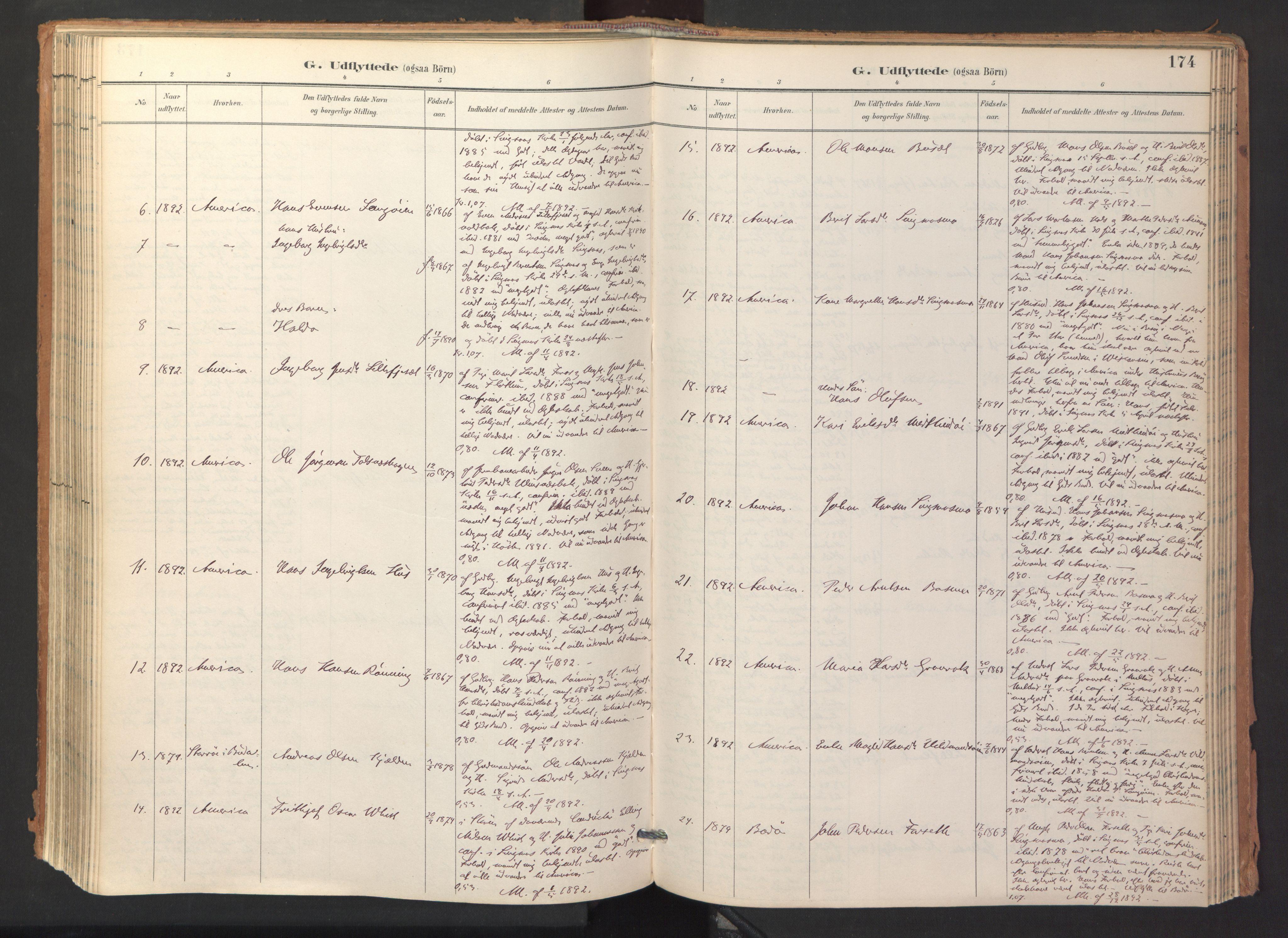 SAT, Ministerialprotokoller, klokkerbøker og fødselsregistre - Sør-Trøndelag, 688/L1025: Ministerialbok nr. 688A02, 1891-1909, s. 174
