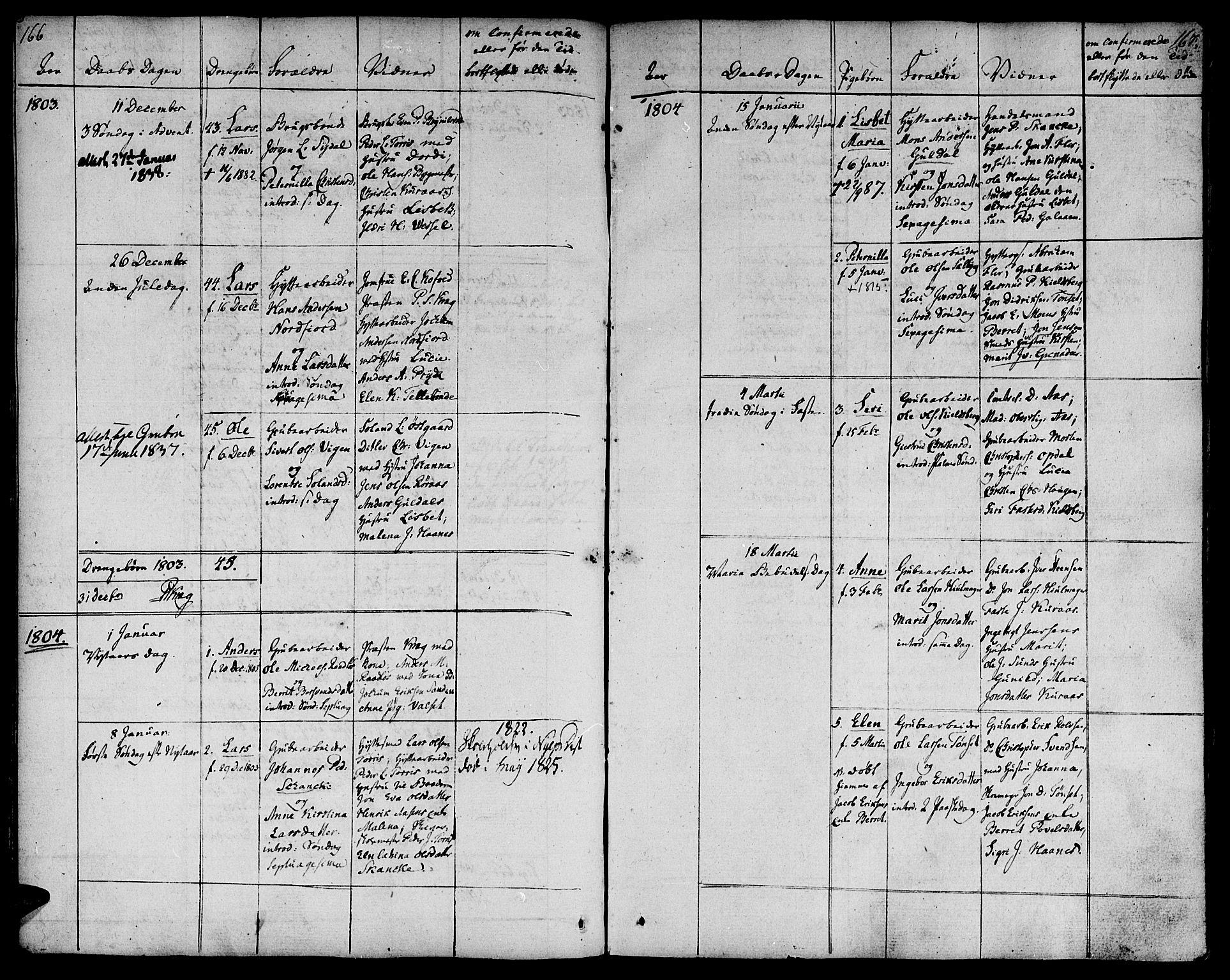 SAT, Ministerialprotokoller, klokkerbøker og fødselsregistre - Sør-Trøndelag, 681/L0927: Ministerialbok nr. 681A05, 1798-1808, s. 166-167