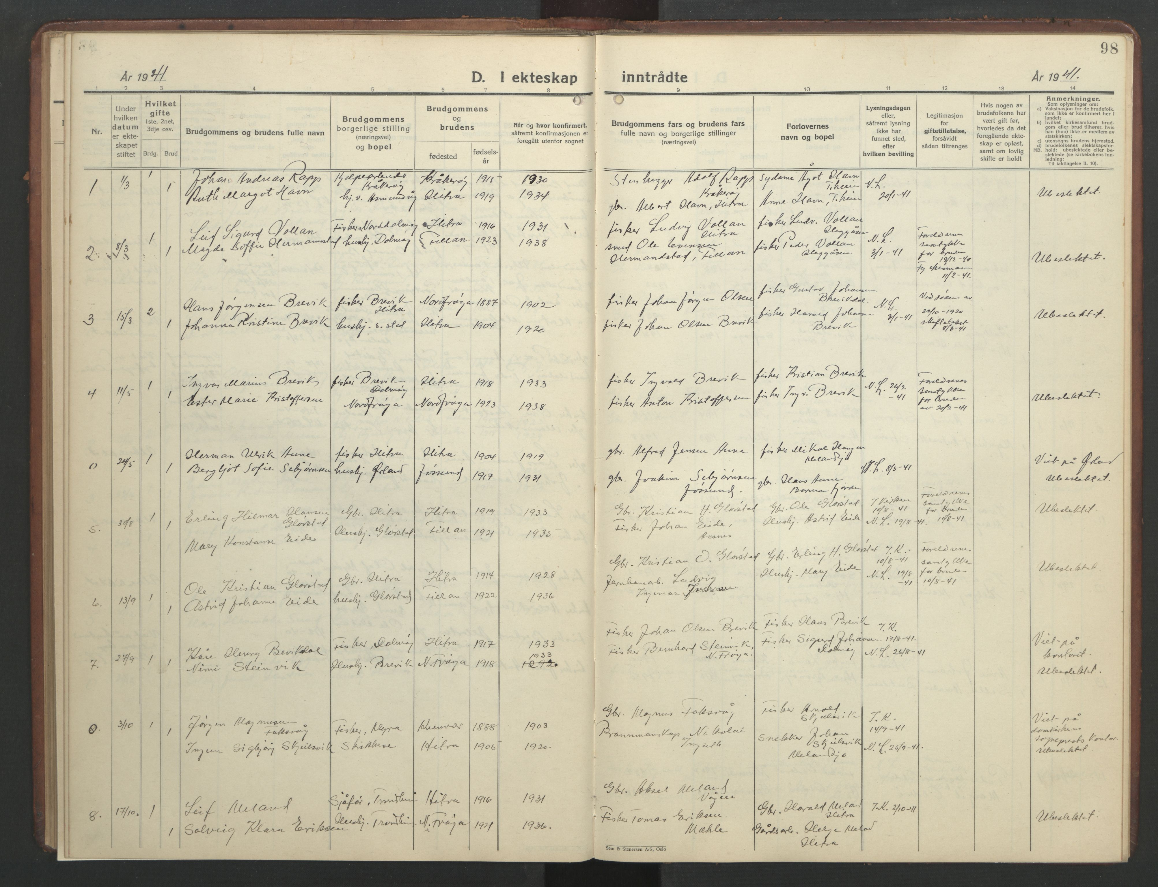 SAT, Ministerialprotokoller, klokkerbøker og fødselsregistre - Sør-Trøndelag, 634/L0544: Klokkerbok nr. 634C06, 1927-1948, s. 98