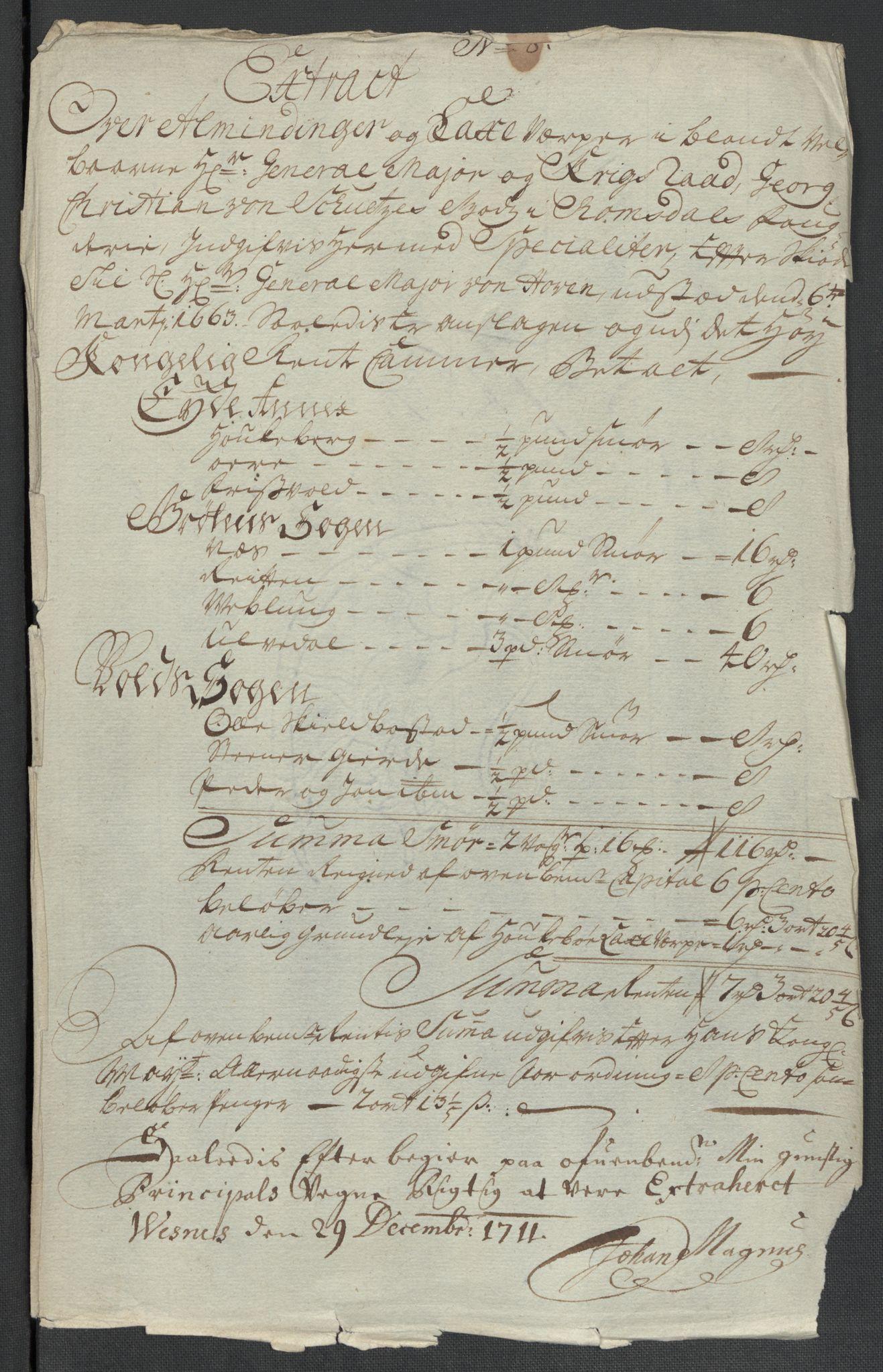 RA, Rentekammeret inntil 1814, Reviderte regnskaper, Fogderegnskap, R55/L3660: Fogderegnskap Romsdal, 1711, s. 125