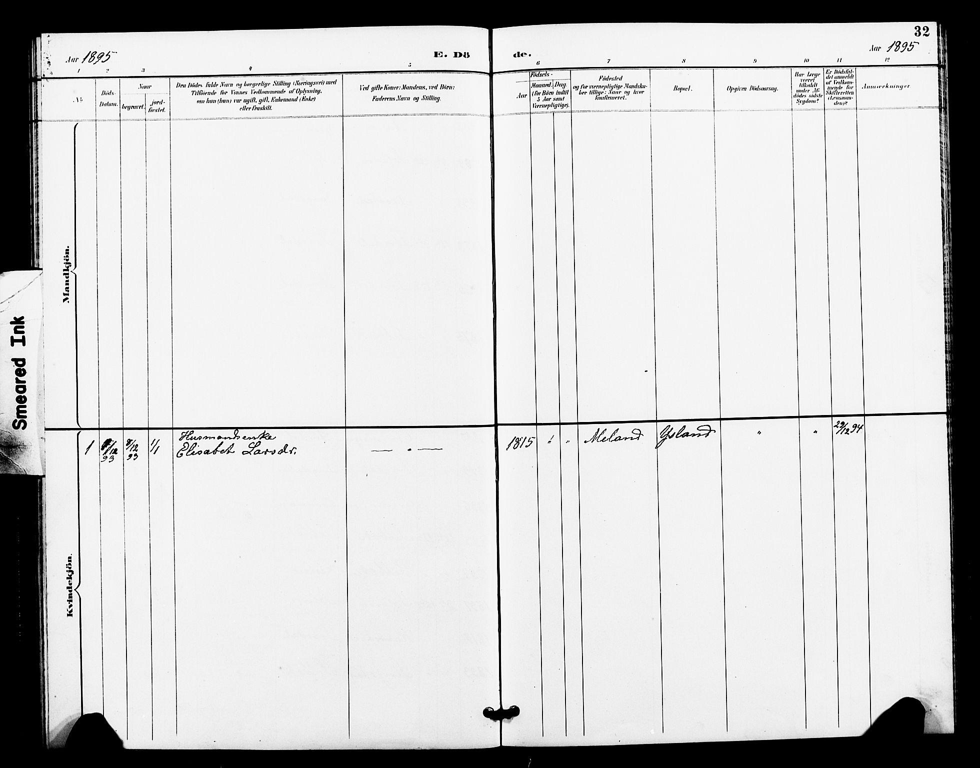SAT, Ministerialprotokoller, klokkerbøker og fødselsregistre - Sør-Trøndelag, 663/L0762: Klokkerbok nr. 663C02, 1894-1899, s. 32