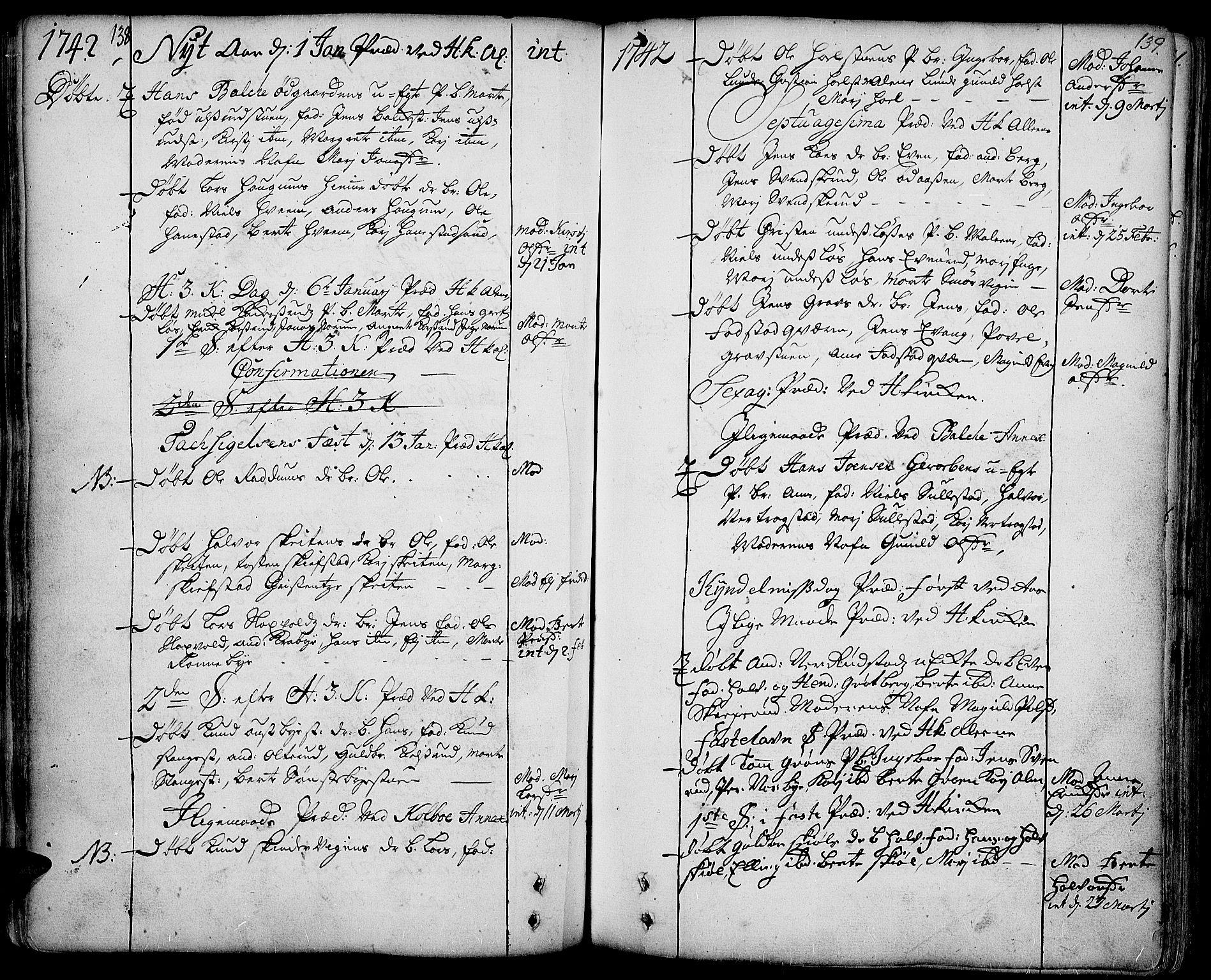 SAH, Toten prestekontor, Ministerialbok nr. 3, 1734-1751, s. 138-139