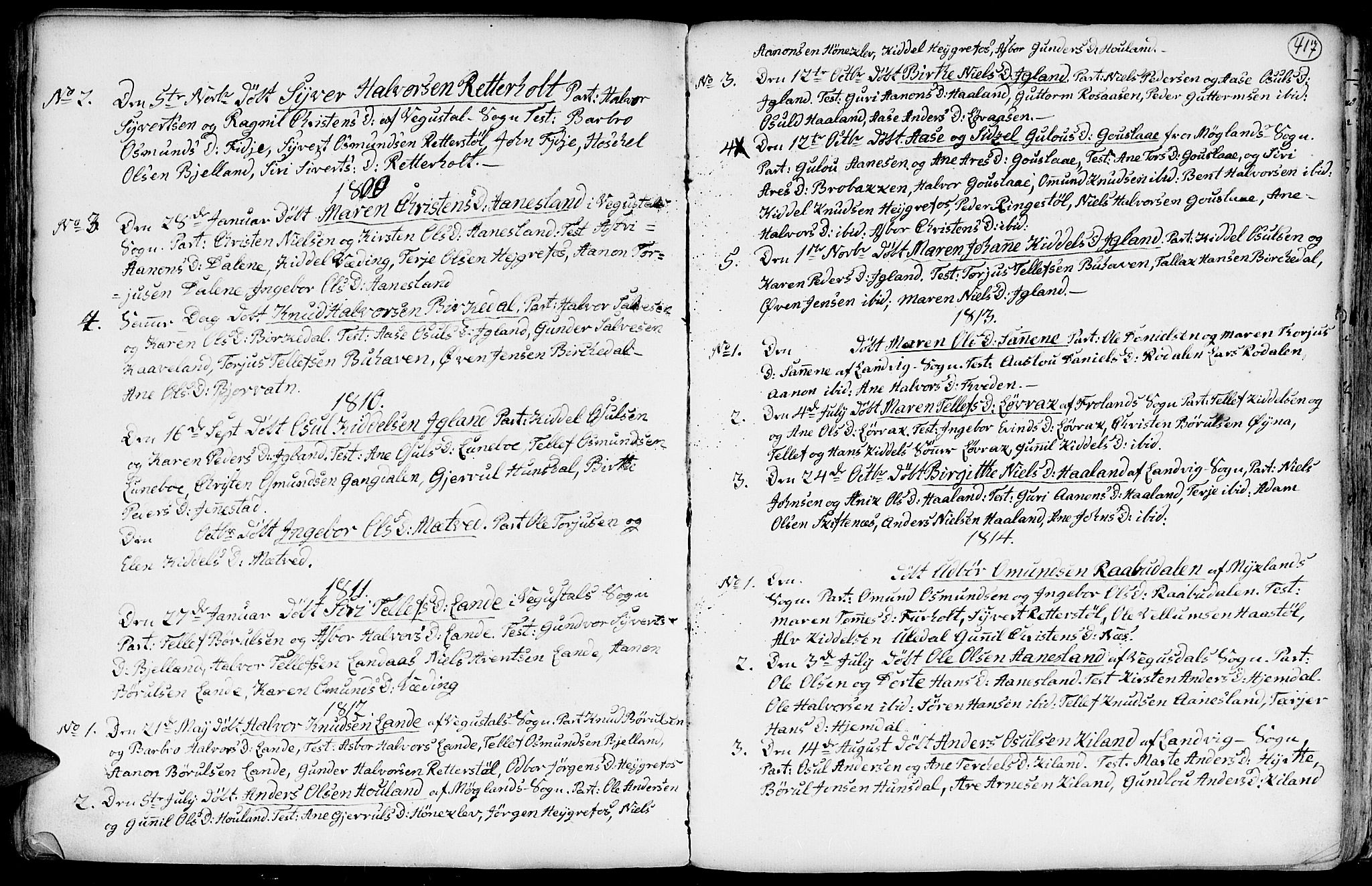 SAK, Hommedal sokneprestkontor, F/Fa/Fab/L0002: Ministerialbok nr. A 2 /3, 1740-1821, s. 417