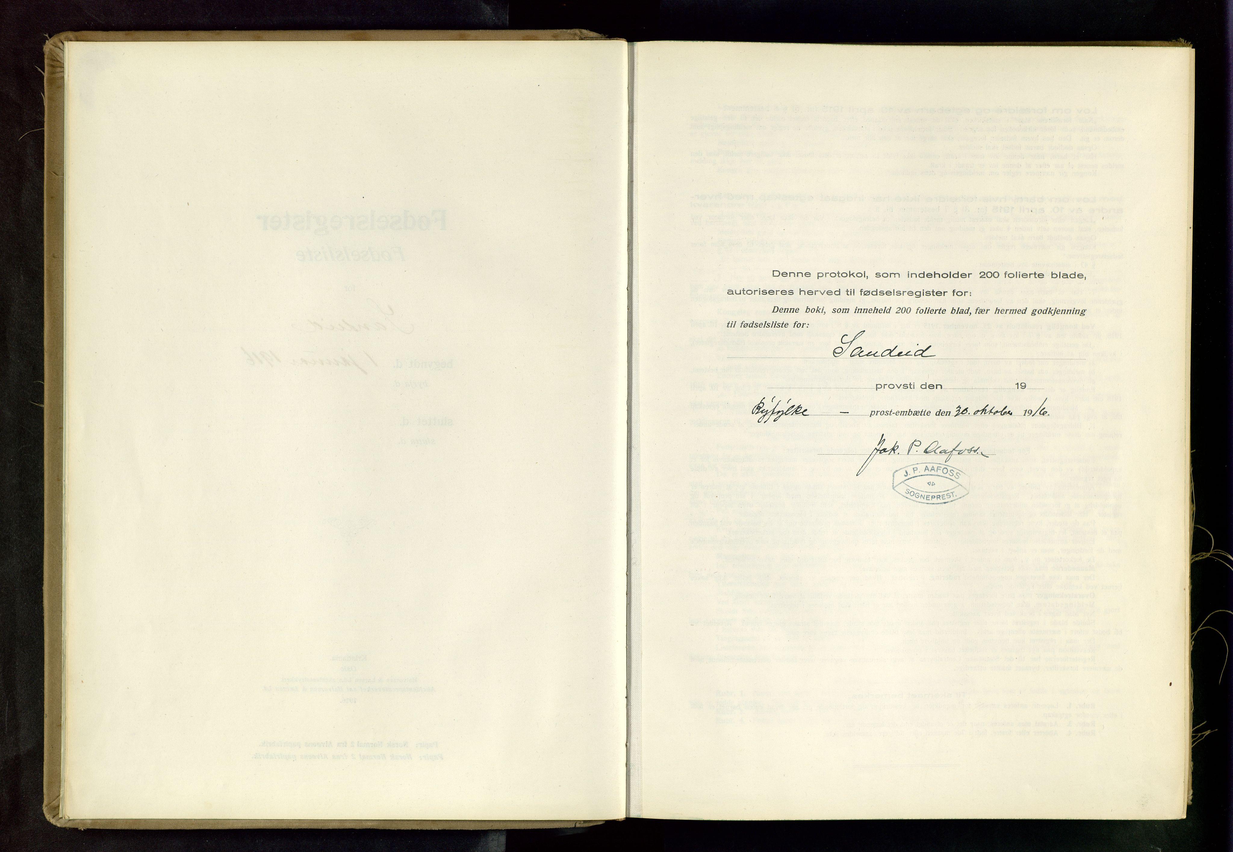 SAST, Vikedal sokneprestkontor, II: Fødselsregister nr. 4, 1916-1982