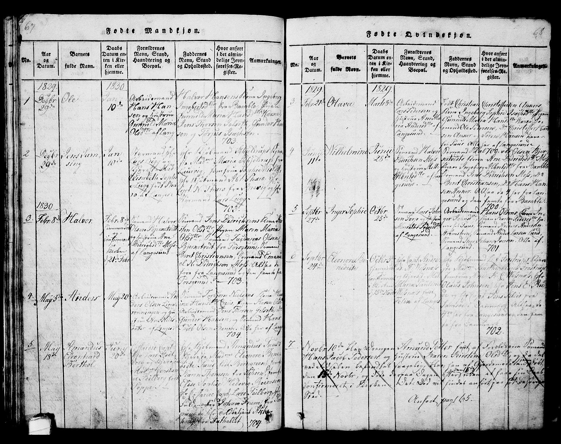 SAKO, Langesund kirkebøker, G/Ga/L0003: Klokkerbok nr. 3, 1815-1858, s. 67-68