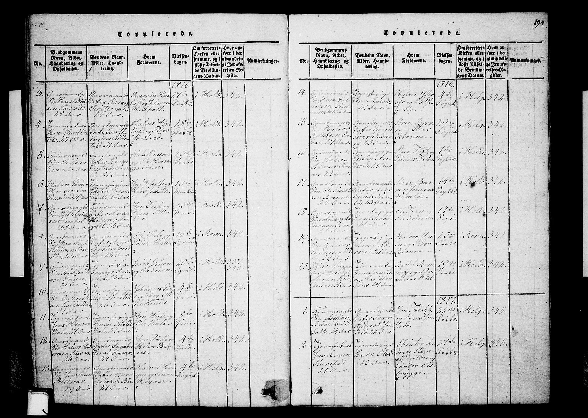 SAKO, Holla kirkebøker, G/Ga/L0001: Klokkerbok nr. I 1, 1814-1830, s. 194
