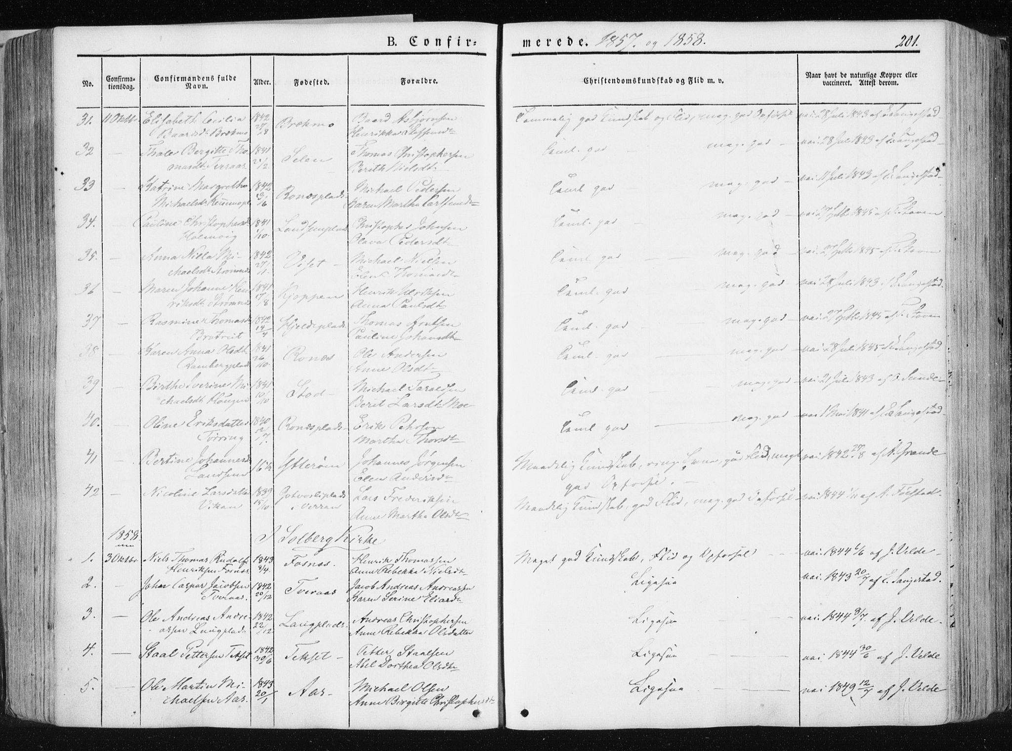 SAT, Ministerialprotokoller, klokkerbøker og fødselsregistre - Nord-Trøndelag, 741/L0393: Ministerialbok nr. 741A07, 1849-1863, s. 201