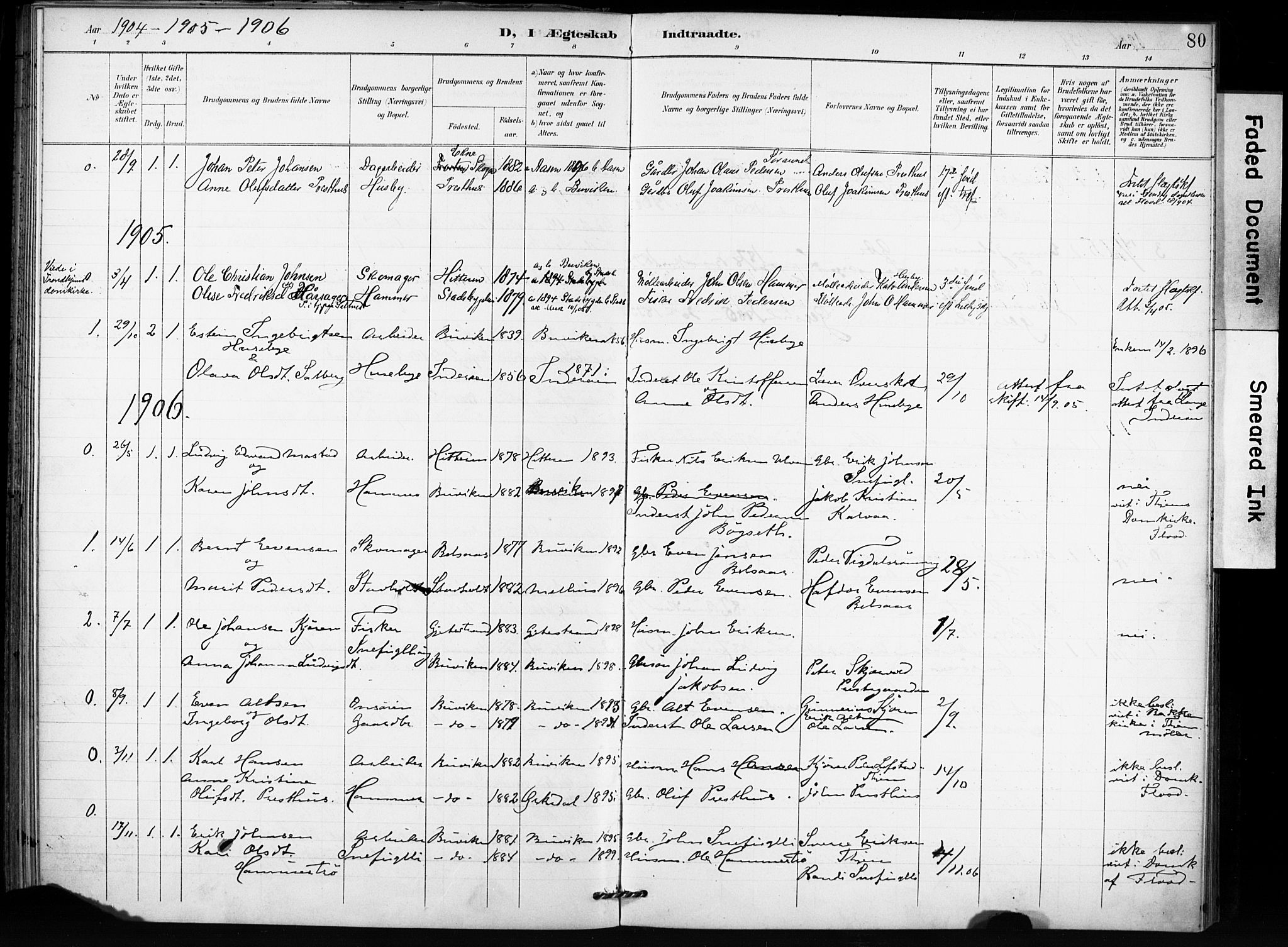 SAT, Ministerialprotokoller, klokkerbøker og fødselsregistre - Sør-Trøndelag, 666/L0787: Ministerialbok nr. 666A05, 1895-1908, s. 80