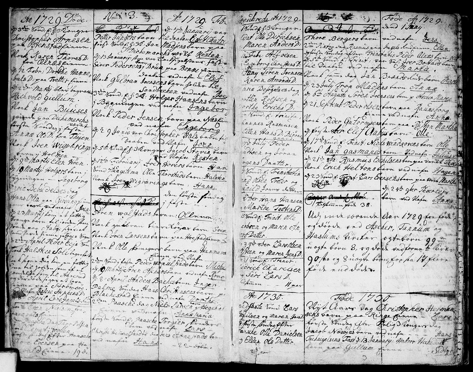 SAO, Asker prestekontor Kirkebøker, F/Fa/L0001: Ministerialbok nr. I 1, 1726-1744, s. 4