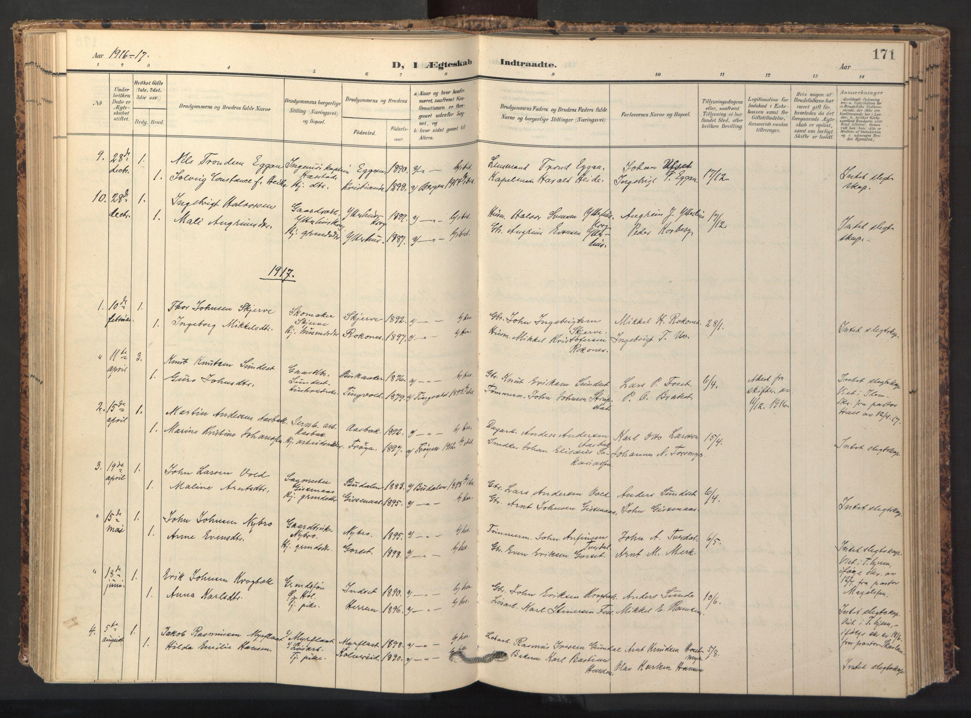 SAT, Ministerialprotokoller, klokkerbøker og fødselsregistre - Sør-Trøndelag, 674/L0873: Ministerialbok nr. 674A05, 1908-1923, s. 171