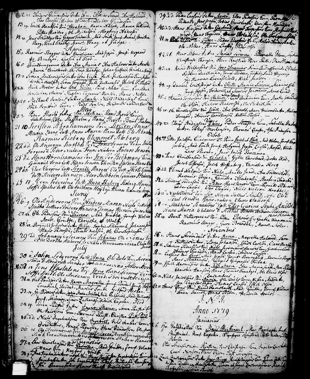 SAKO, Skien kirkebøker, G/Ga/L0001: Klokkerbok nr. 1, 1756-1791, s. 96