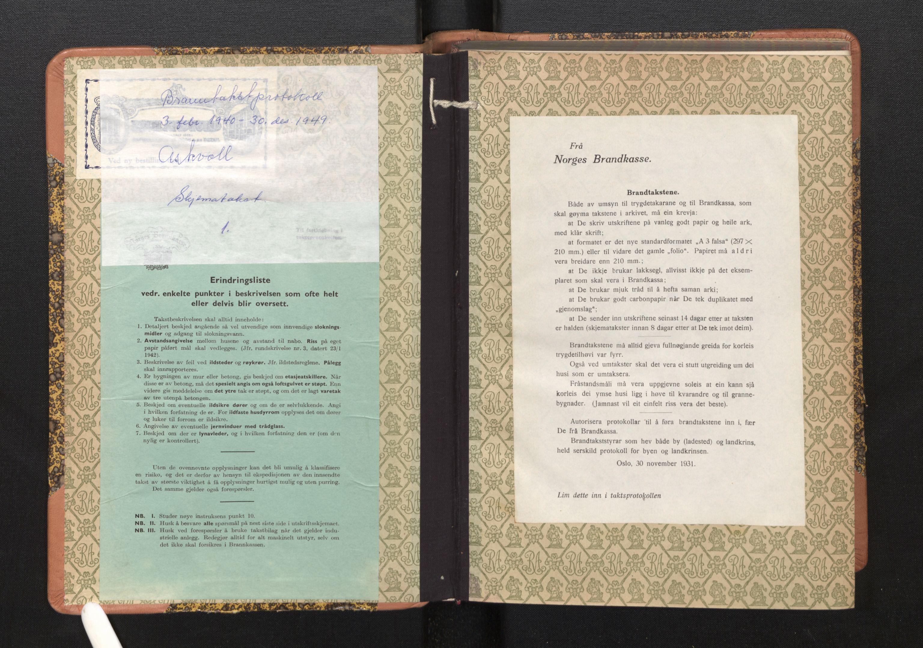 SAB, Lensmannen i Askvoll, 0012/L0005: Branntakstprotokoll, skjematakst, 1940-1949