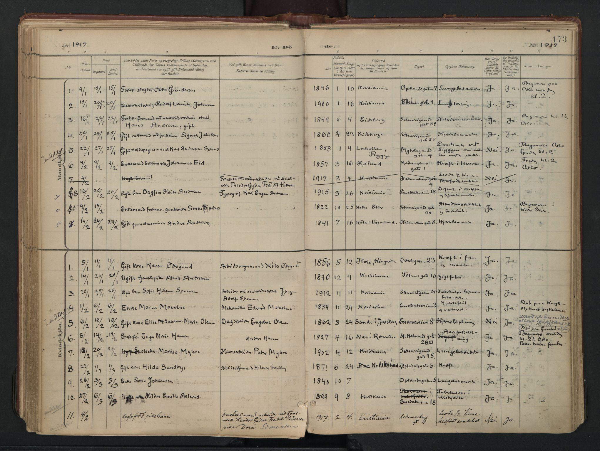 SAO, Vålerengen prestekontor Kirkebøker, F/Fa/L0003: Ministerialbok nr. 3, 1899-1930, s. 173