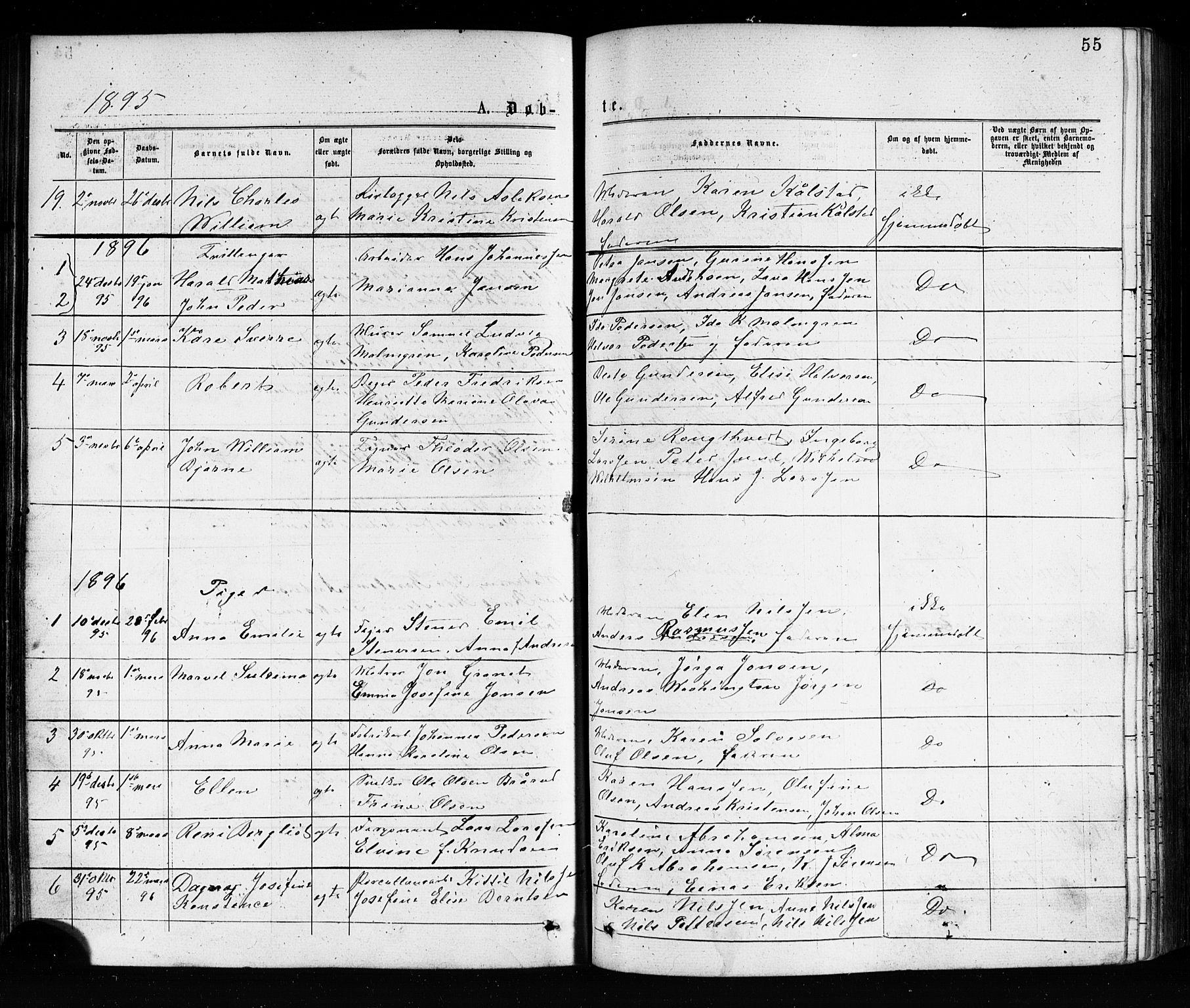 SAKO, Porsgrunn kirkebøker , G/Ga/L0003: Klokkerbok nr. I 3, 1877-1915, s. 55