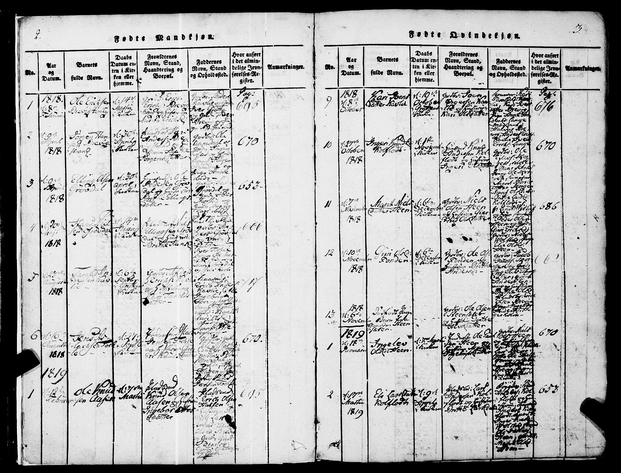 SAT, Ministerialprotokoller, klokkerbøker og fødselsregistre - Møre og Romsdal, 545/L0585: Ministerialbok nr. 545A01, 1818-1853, s. 2-3