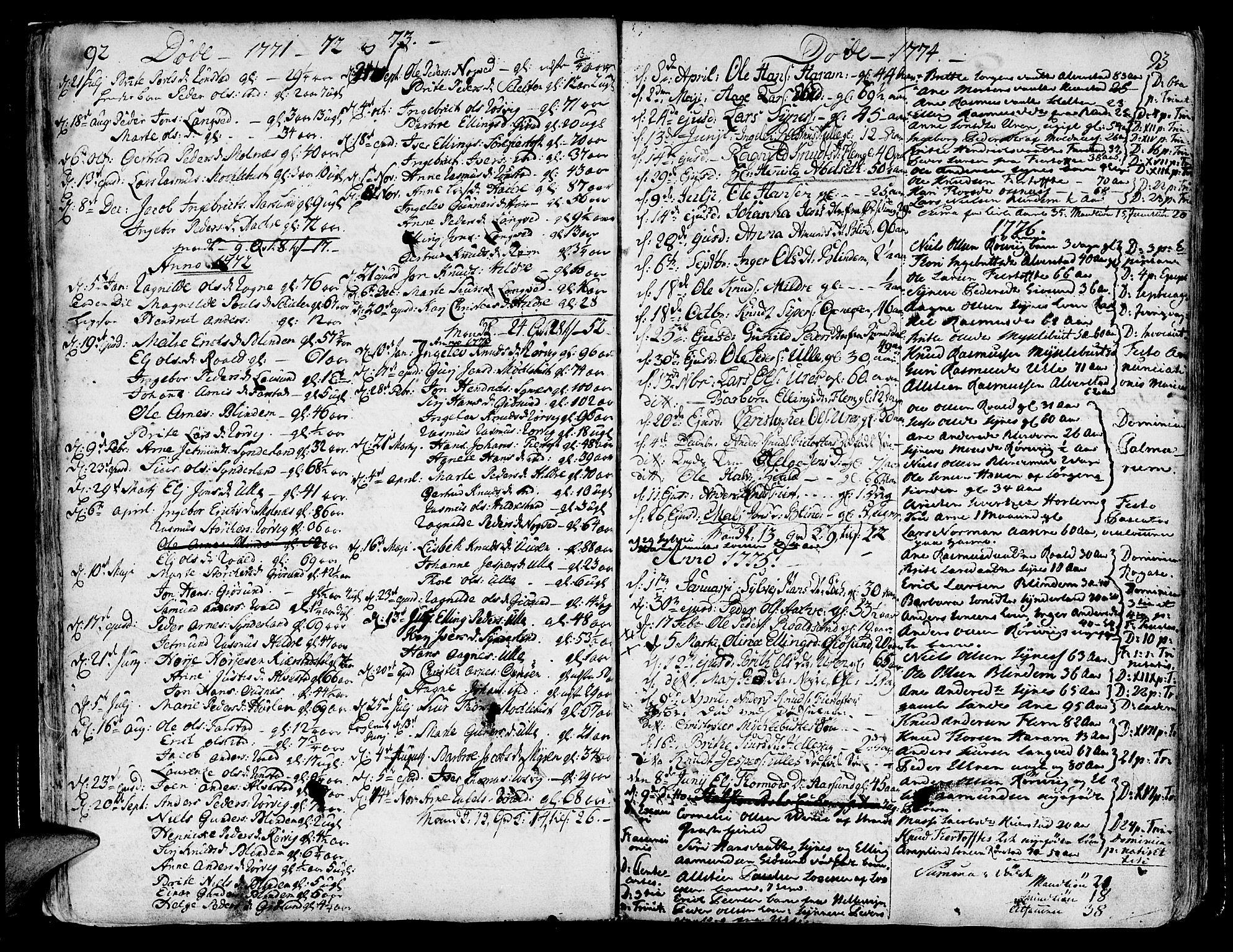 SAT, Ministerialprotokoller, klokkerbøker og fødselsregistre - Møre og Romsdal, 536/L0493: Ministerialbok nr. 536A02, 1739-1802, s. 92-93