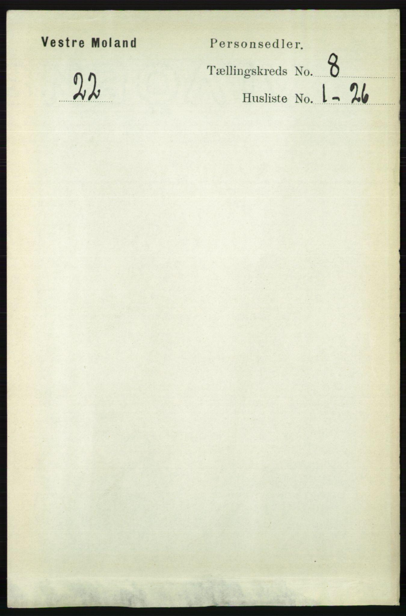 RA, Folketelling 1891 for 0926 Vestre Moland herred, 1891, s. 2997