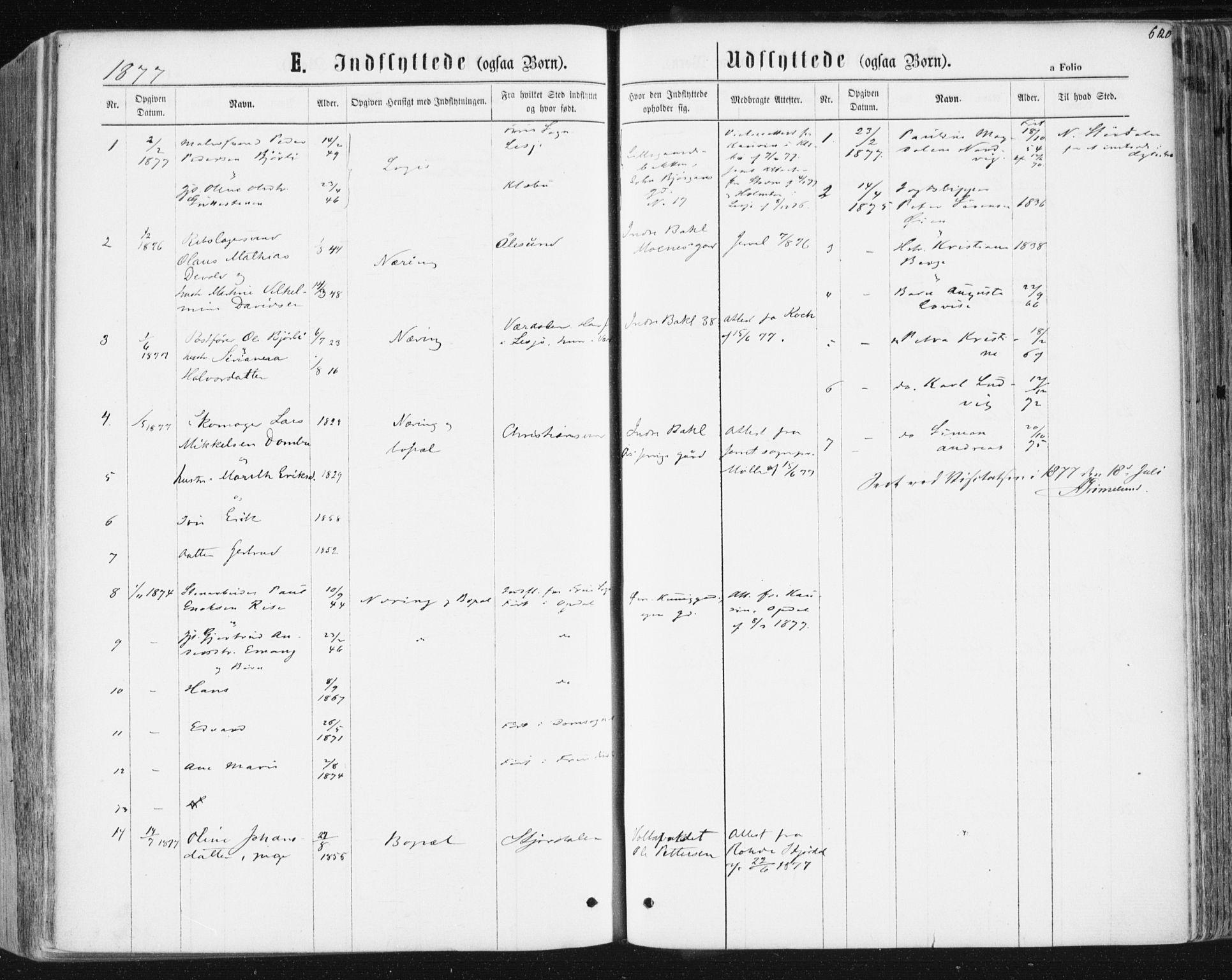 SAT, Ministerialprotokoller, klokkerbøker og fødselsregistre - Sør-Trøndelag, 604/L0186: Ministerialbok nr. 604A07, 1866-1877, s. 620