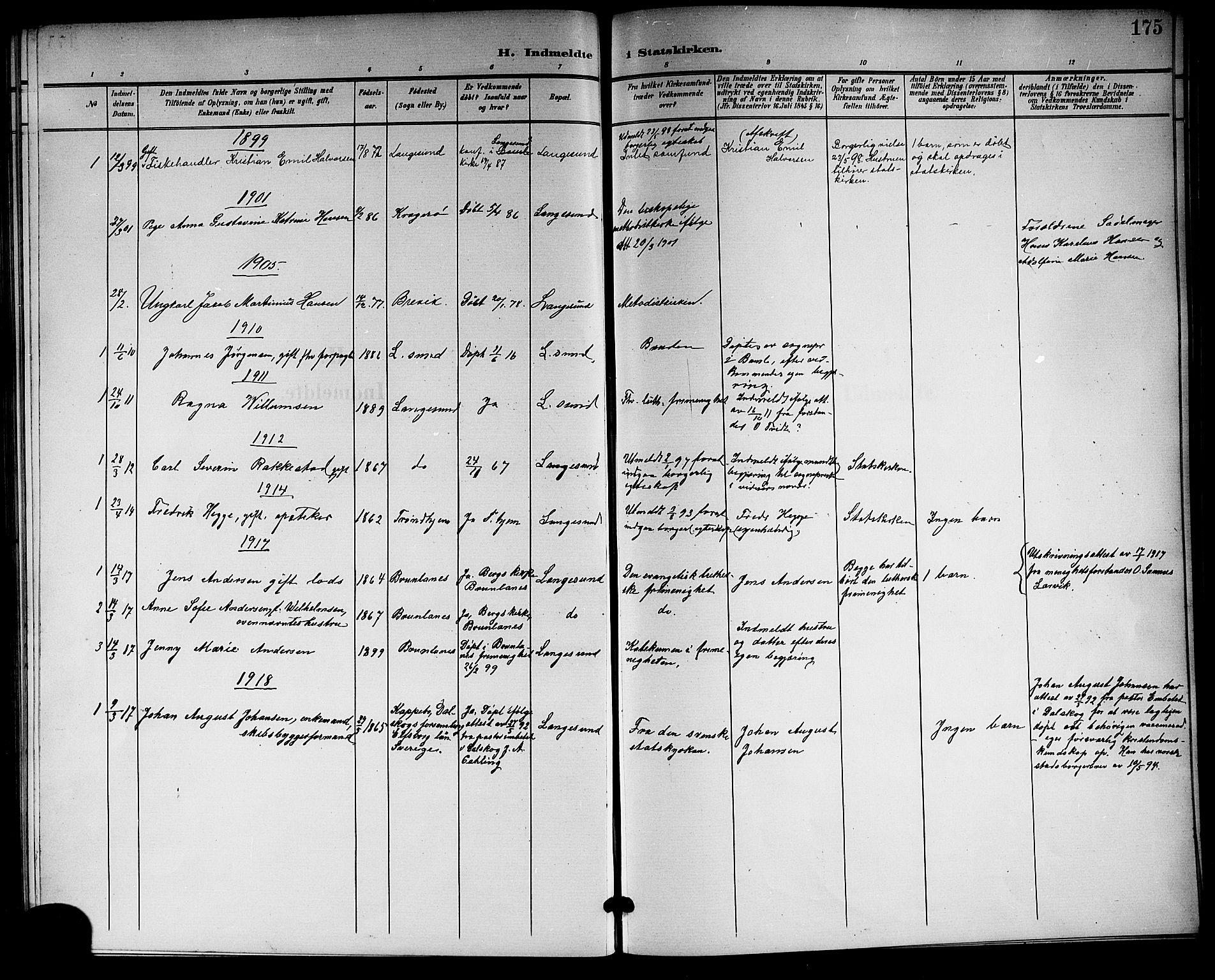 SAKO, Langesund kirkebøker, G/Ga/L0006: Klokkerbok nr. 6, 1899-1918, s. 175