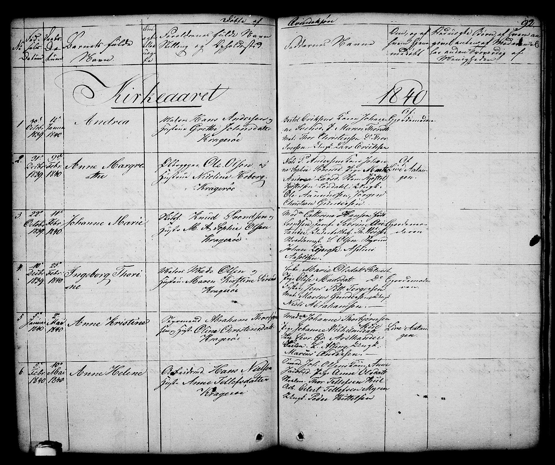 SAKO, Kragerø kirkebøker, G/Ga/L0003: Klokkerbok nr. 3, 1832-1852, s. 92