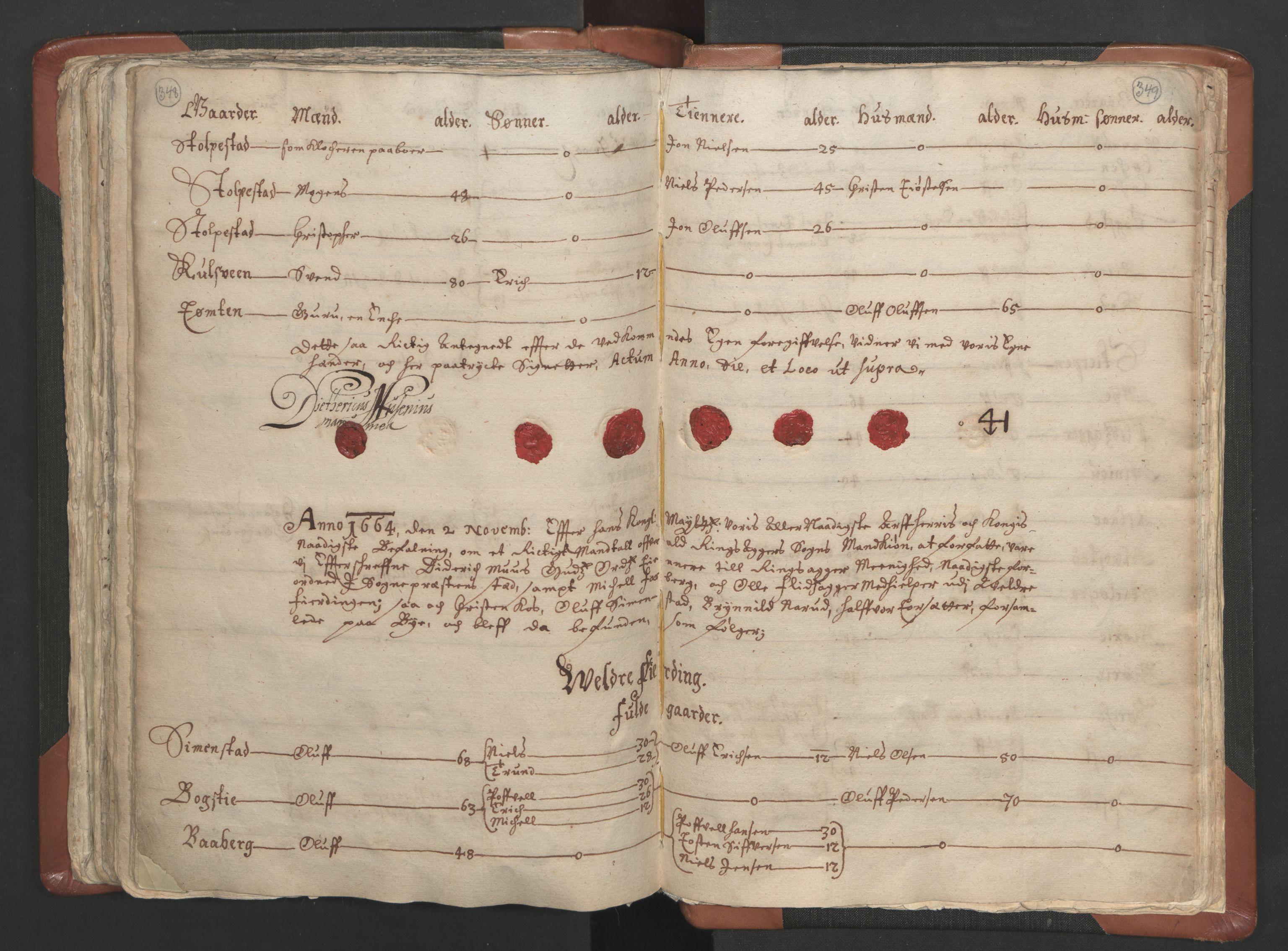 RA, Sogneprestenes manntall 1664-1666, nr. 5: Hedmark prosti, 1664-1666, s. 348-349