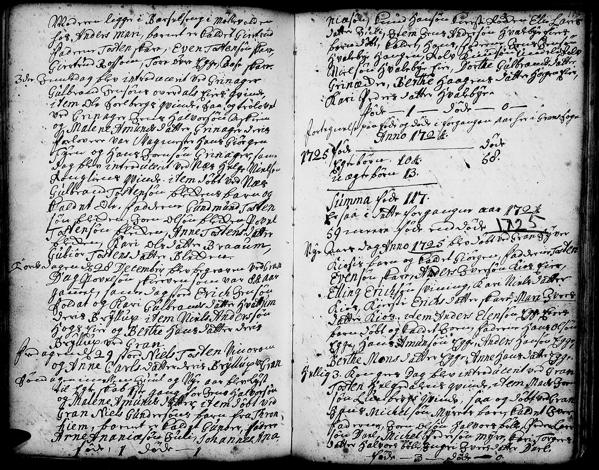 SAH, Gran prestekontor, Ministerialbok nr. 1, 1707-1731, s. 178