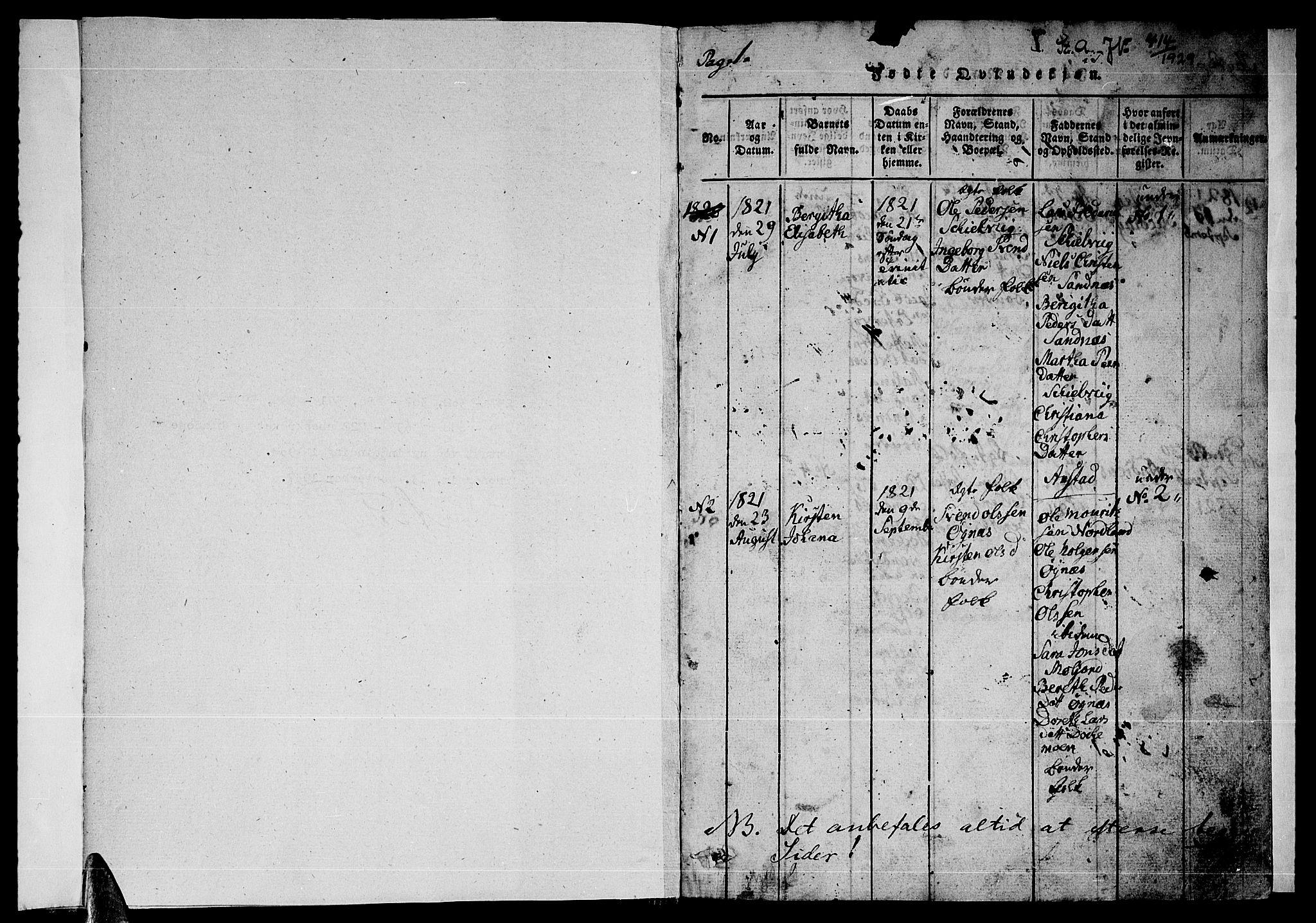 SAT, Ministerialprotokoller, klokkerbøker og fødselsregistre - Nordland, 846/L0651: Klokkerbok nr. 846C01, 1821-1841, s. 1