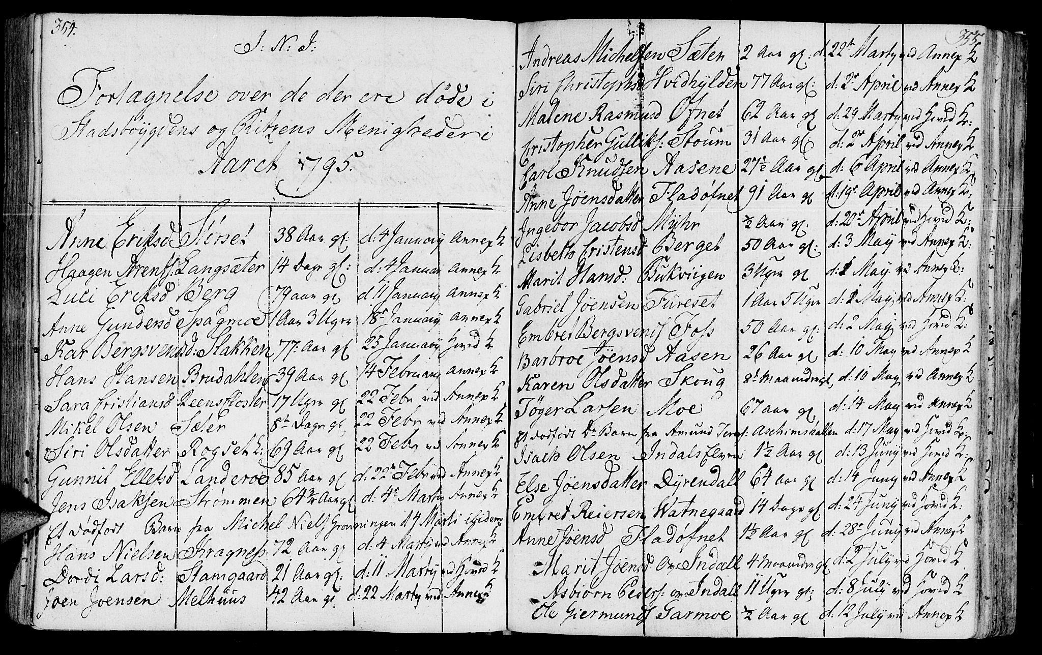 SAT, Ministerialprotokoller, klokkerbøker og fødselsregistre - Sør-Trøndelag, 646/L0606: Ministerialbok nr. 646A04, 1791-1805, s. 354-355
