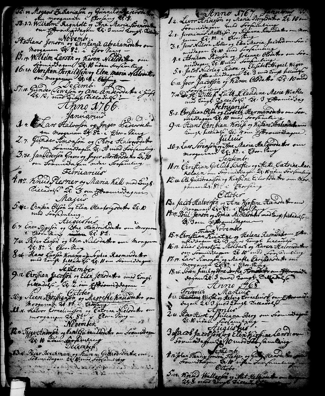 SAKO, Skien kirkebøker, G/Ga/L0001: Klokkerbok nr. 1, 1756-1791, s. 35