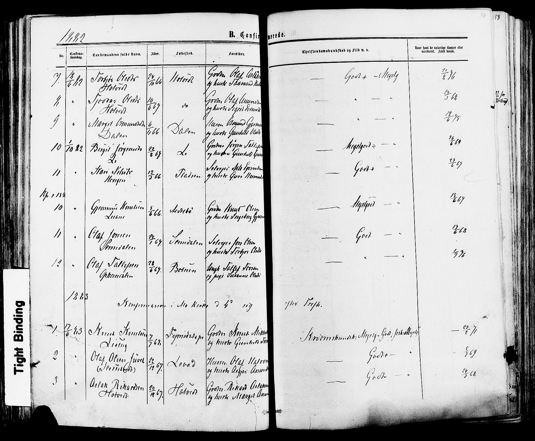 SAKO, Mo kirkebøker, F/Fa/L0006: Ministerialbok nr. I 6, 1865-1885, s. 156
