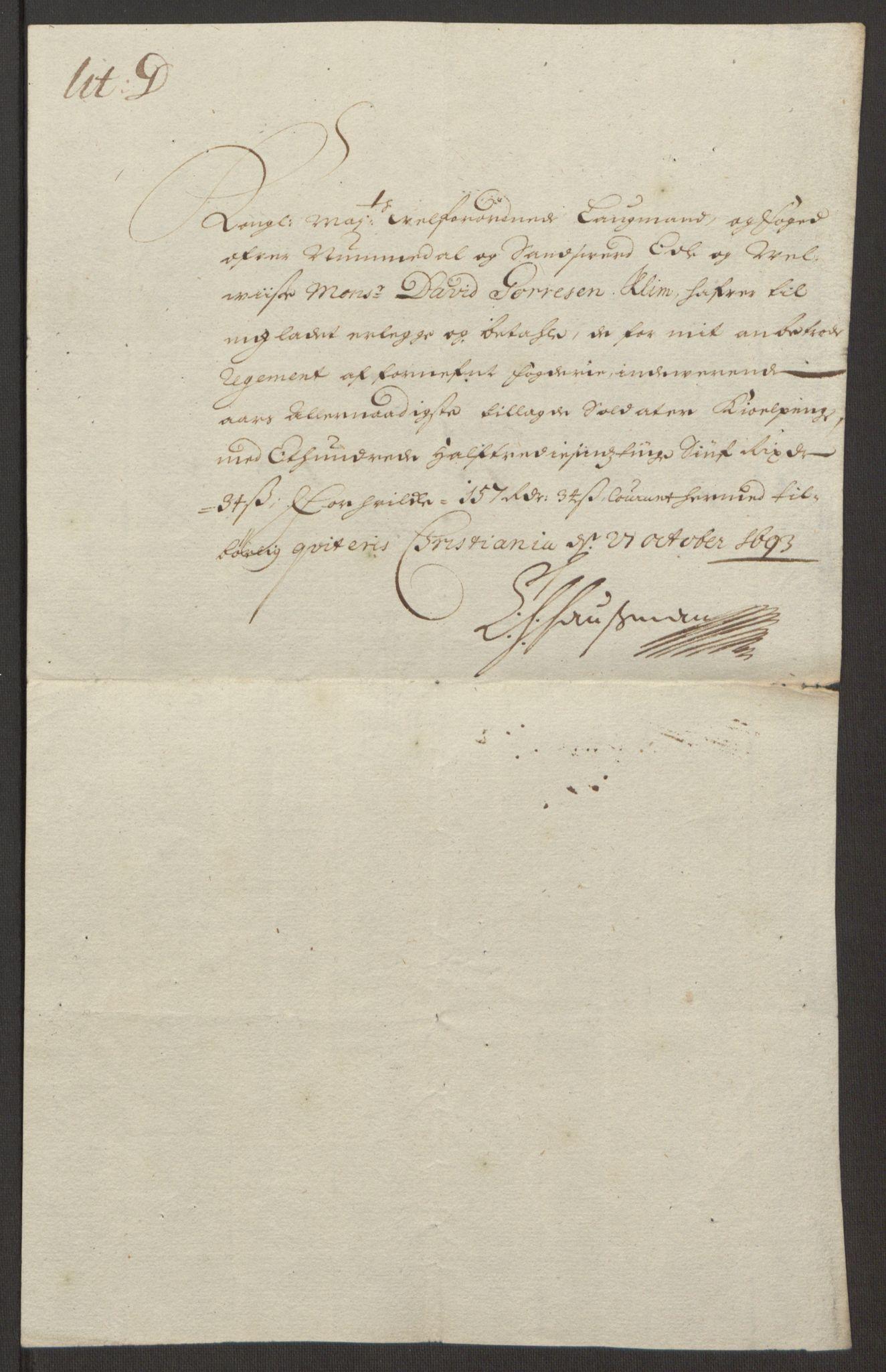 RA, Rentekammeret inntil 1814, Reviderte regnskaper, Fogderegnskap, R24/L1575: Fogderegnskap Numedal og Sandsvær, 1692-1695, s. 453