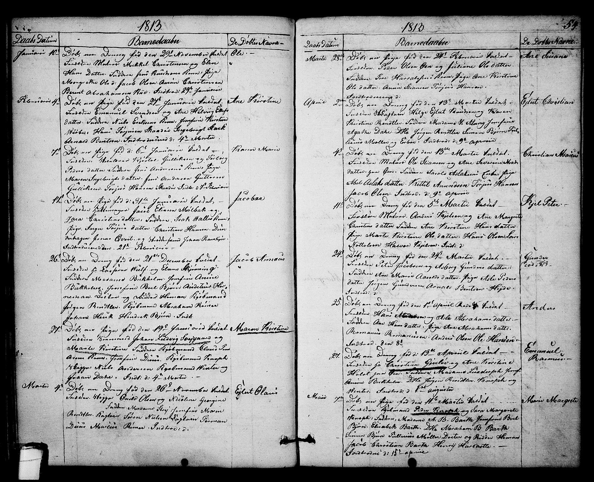 SAKO, Kragerø kirkebøker, F/Fa/L0003: Ministerialbok nr. 3, 1802-1813, s. 54
