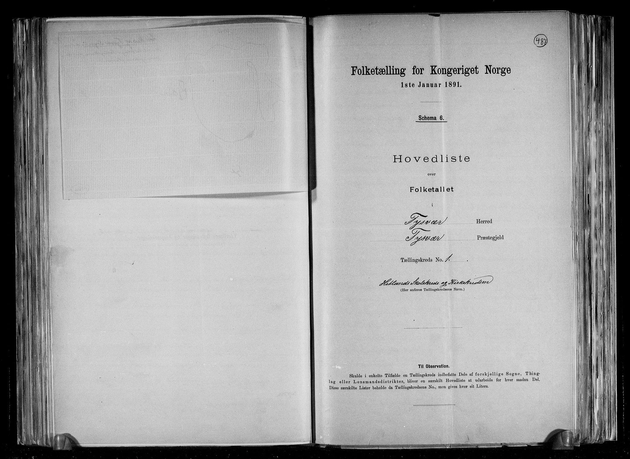 RA, Folketelling 1891 for 1146 Tysvær herred, 1891, s. 5