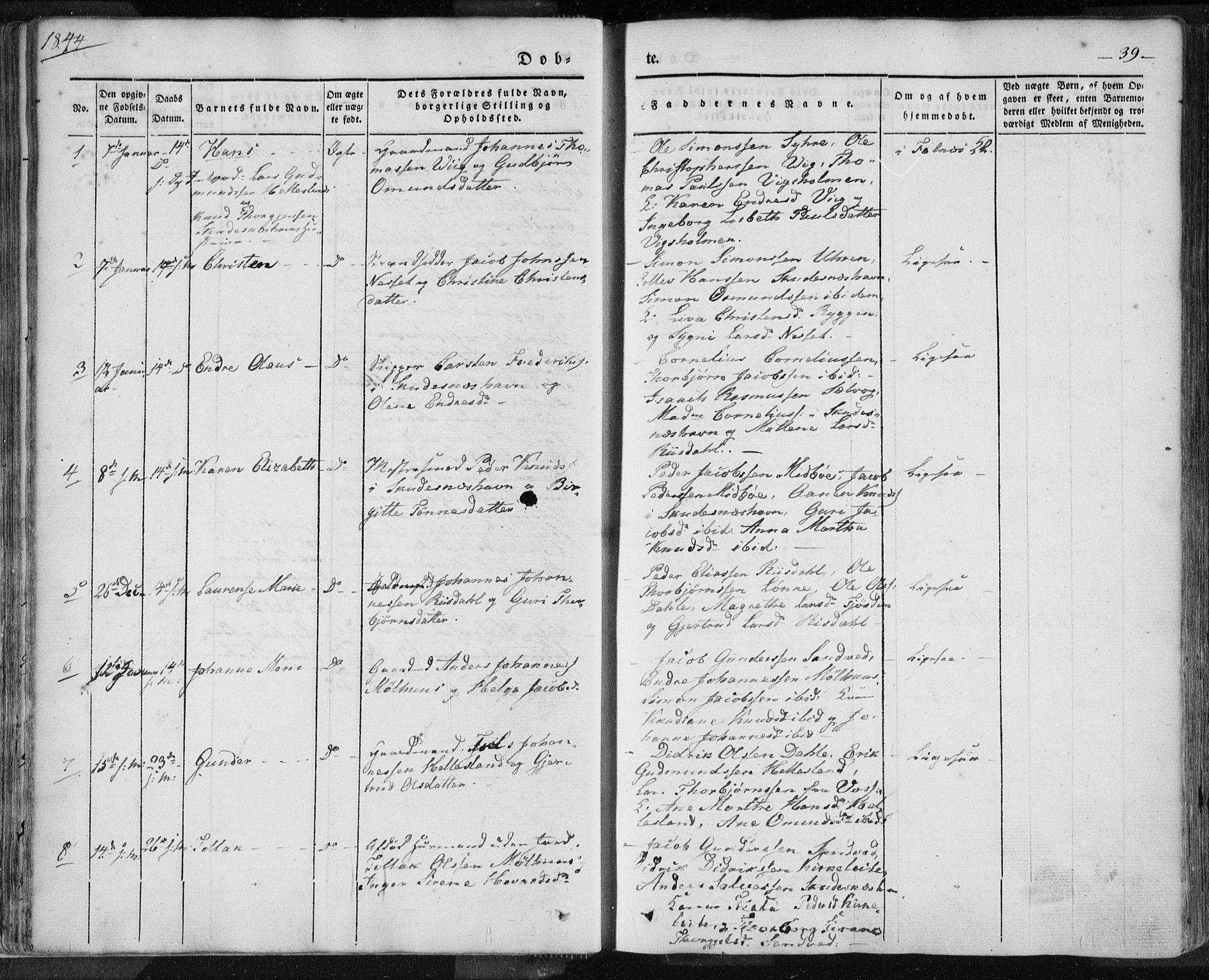 SAST, Skudenes sokneprestkontor, H/Ha/Haa/L0002: Ministerialbok nr. A 2.1, 1841-1846, s. 39