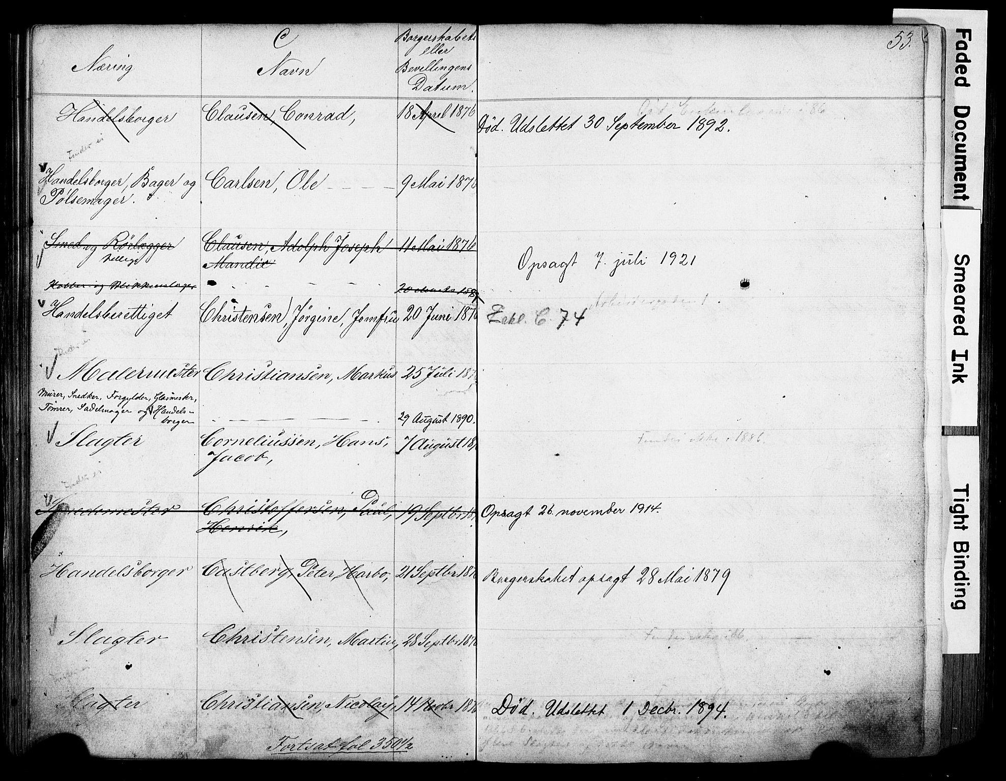 SAO, Kristiania magistrat, F/Fb/L0004: Borgerrulle, 1860-1879, s. 55