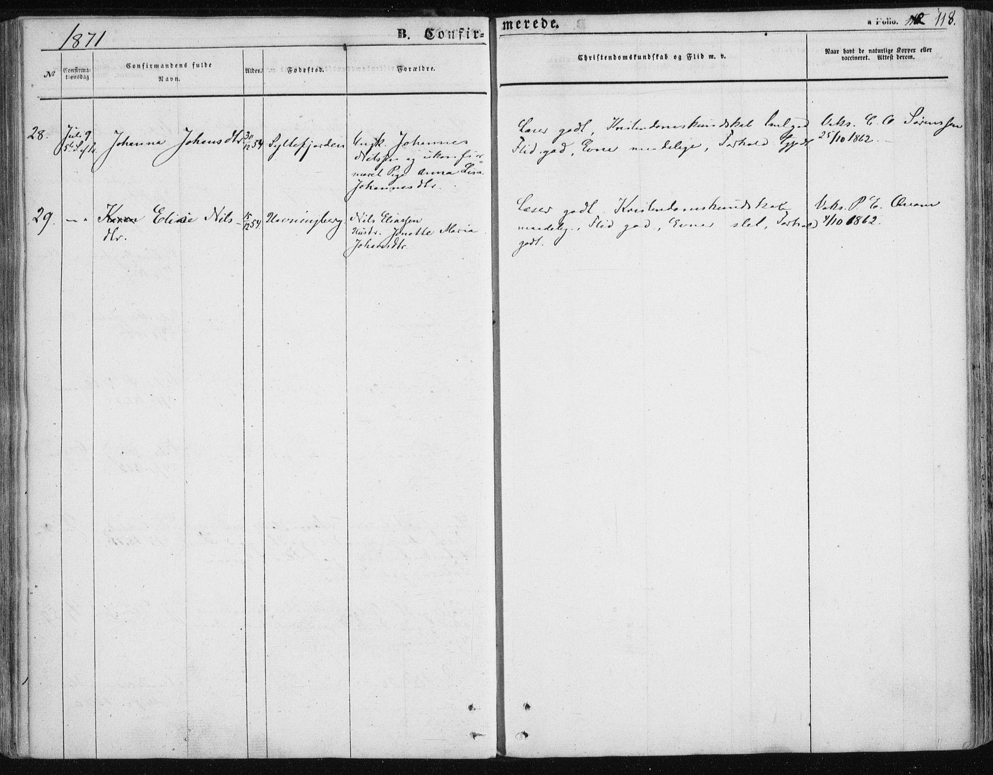 SATØ, Vardø sokneprestkontor, H/Ha/L0004kirke: Ministerialbok nr. 4, 1862-1871, s. 118