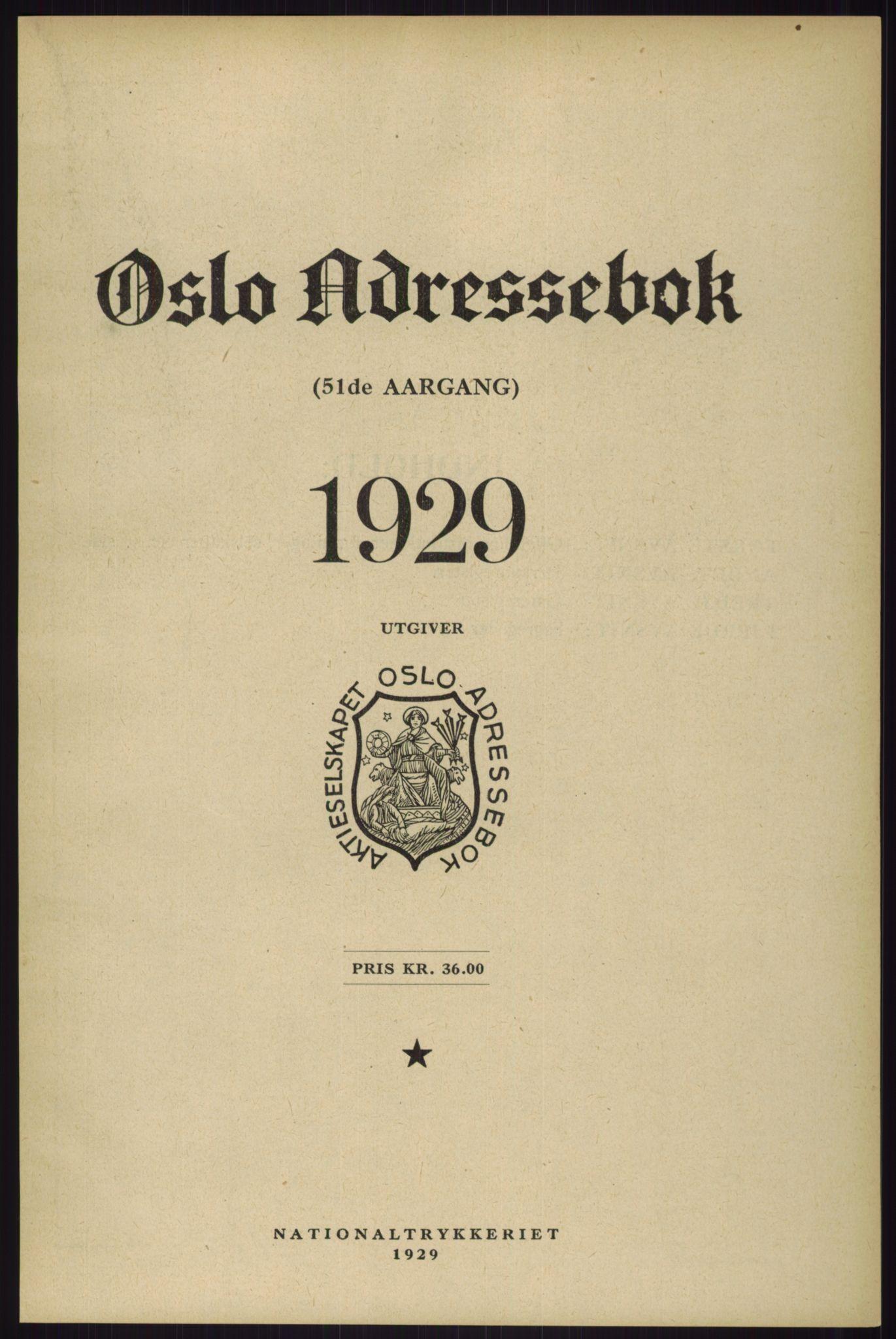 RA, Oslo adressebok (publikasjon)*, 1929, s. upaginert