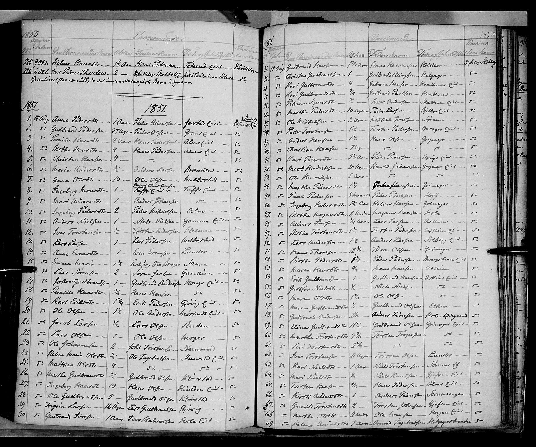 SAH, Gran prestekontor, Ministerialbok nr. 11, 1842-1856, s. 1334-1335