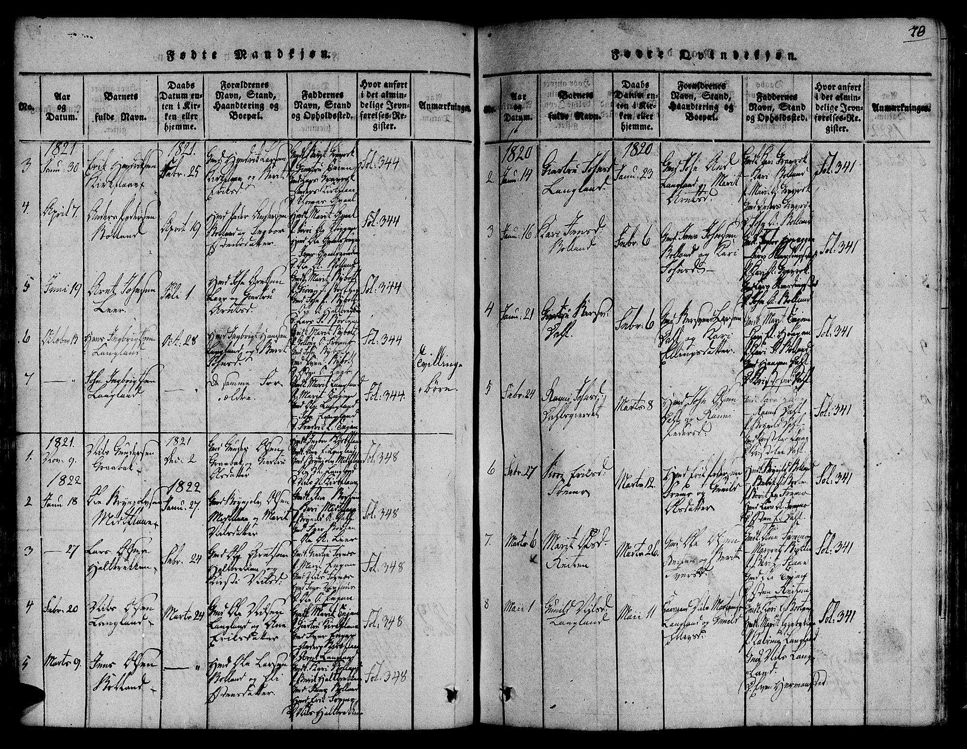SAT, Ministerialprotokoller, klokkerbøker og fødselsregistre - Sør-Trøndelag, 691/L1066: Ministerialbok nr. 691A03 /2, 1816-1826, s. 70