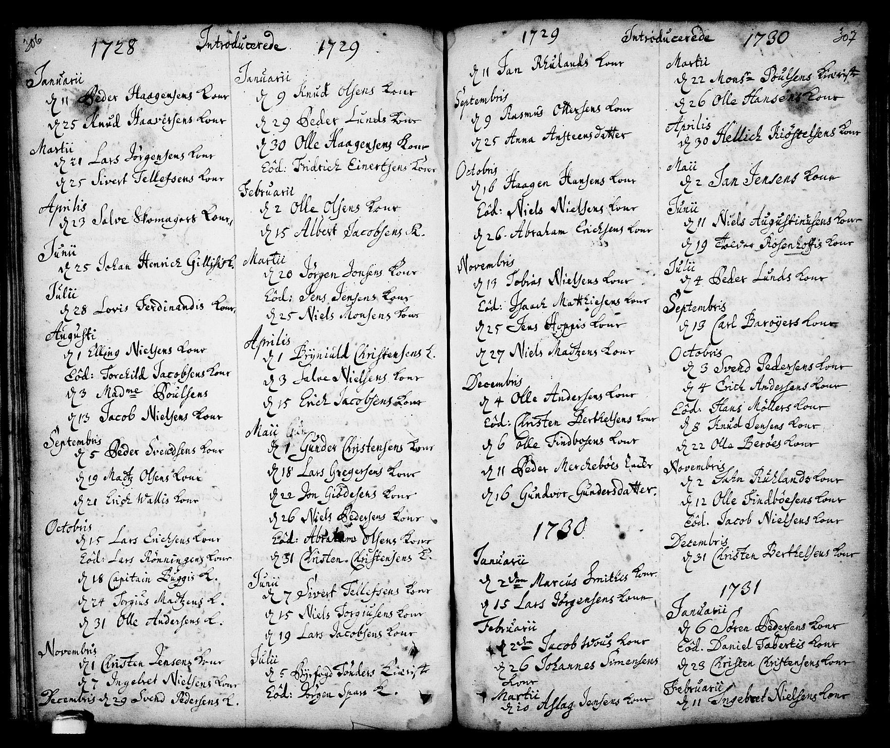 SAKO, Kragerø kirkebøker, F/Fa/L0001: Ministerialbok nr. 1, 1702-1766, s. 306-307