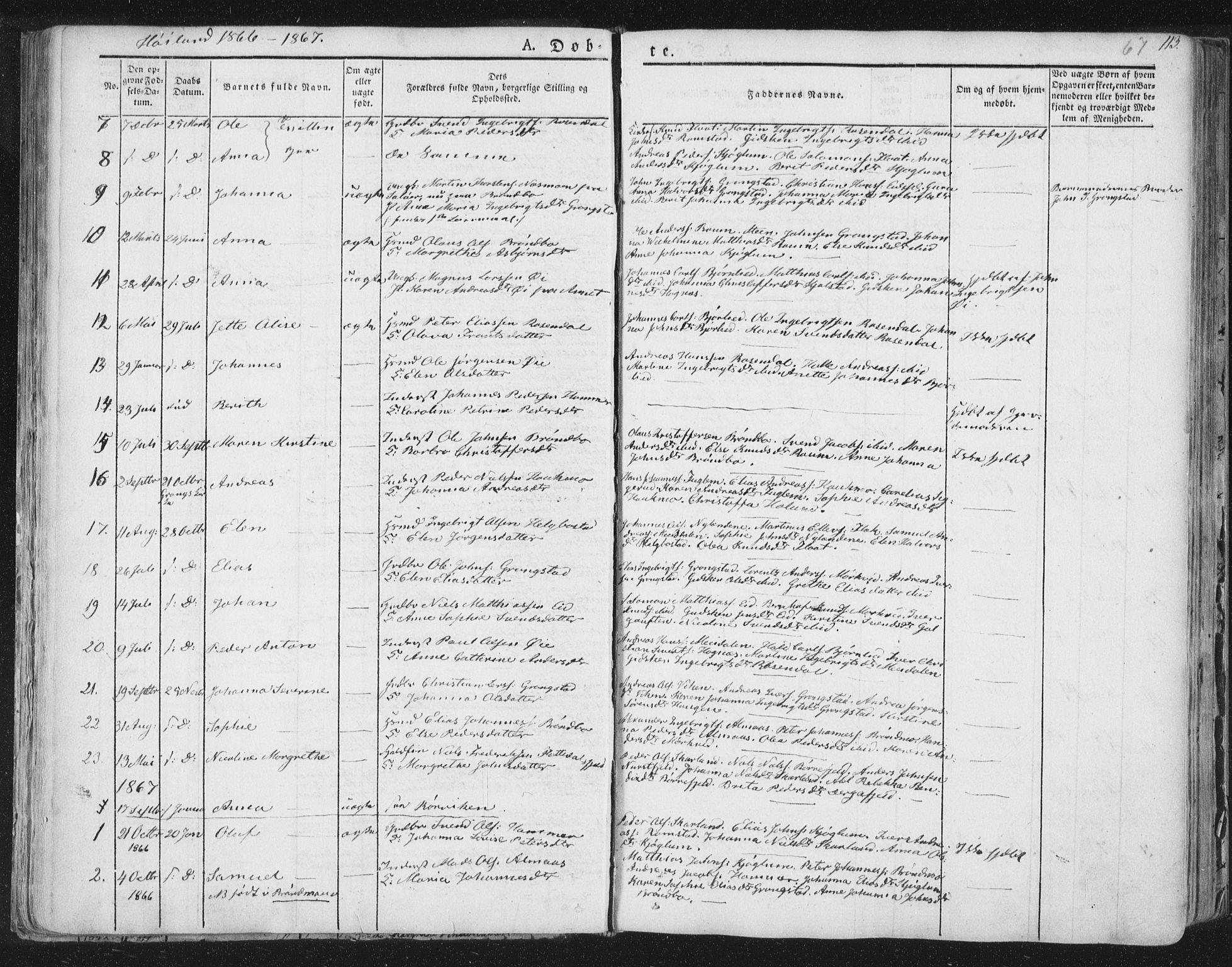SAT, Ministerialprotokoller, klokkerbøker og fødselsregistre - Nord-Trøndelag, 758/L0513: Ministerialbok nr. 758A02 /2, 1839-1868, s. 67