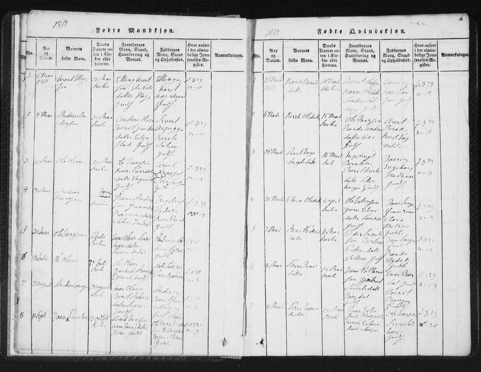 SAT, Ministerialprotokoller, klokkerbøker og fødselsregistre - Sør-Trøndelag, 689/L1037: Ministerialbok nr. 689A02, 1816-1842, s. 6