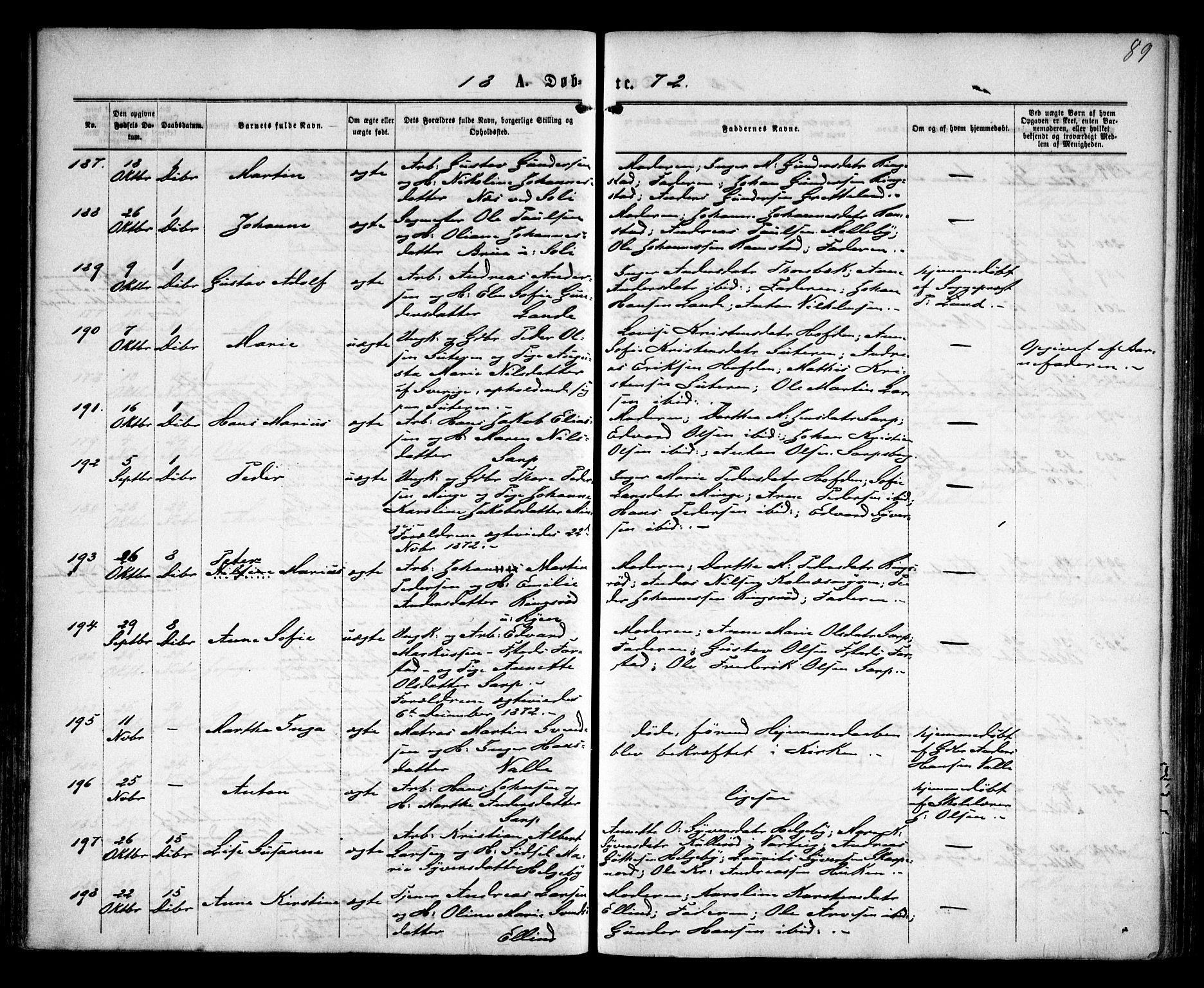 SAO, Tune prestekontor Kirkebøker, F/Fa/L0015: Ministerialbok nr. 15, 1869-1873, s. 89